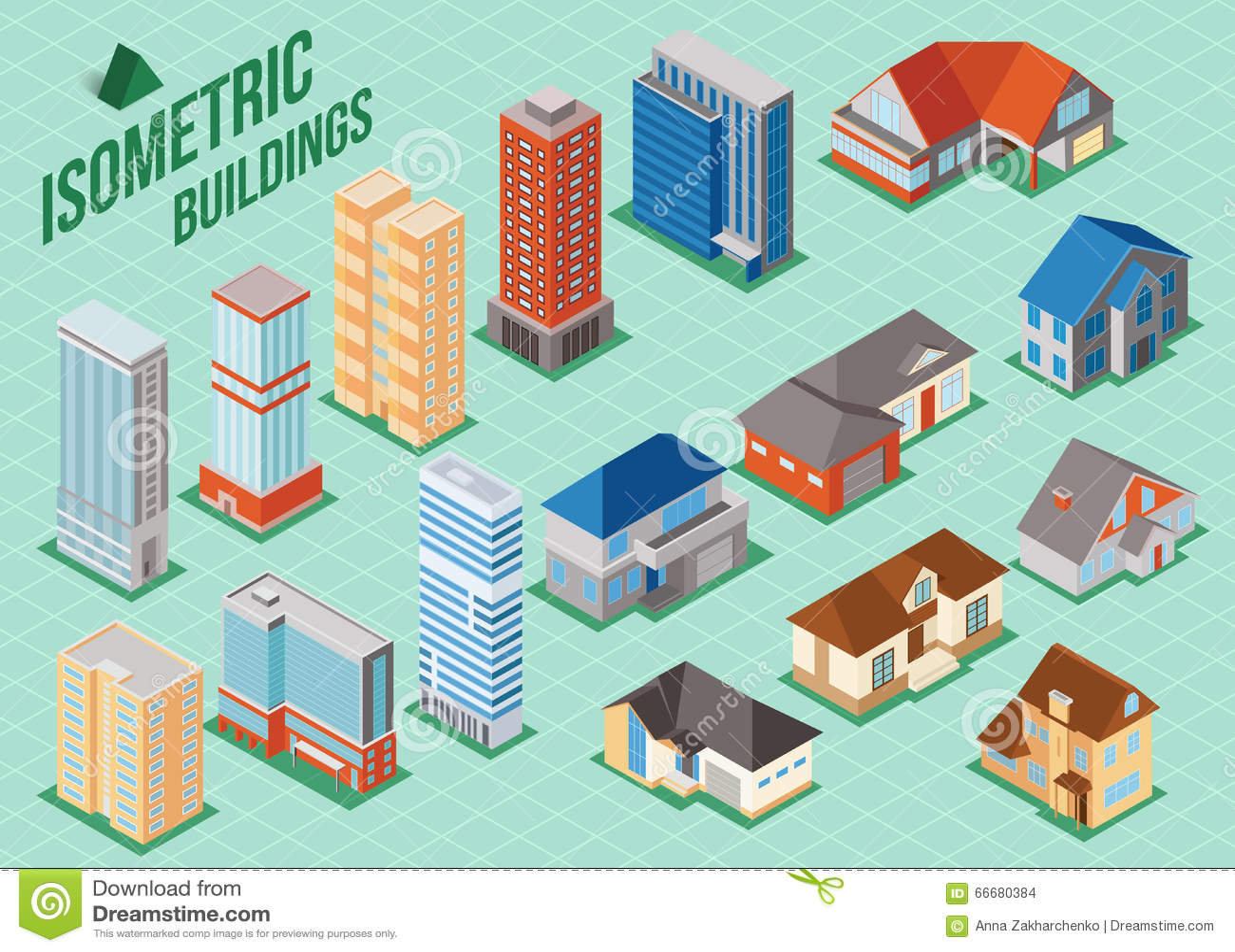 Isometric Buildings Real Estate - City Buildings - Residential ...