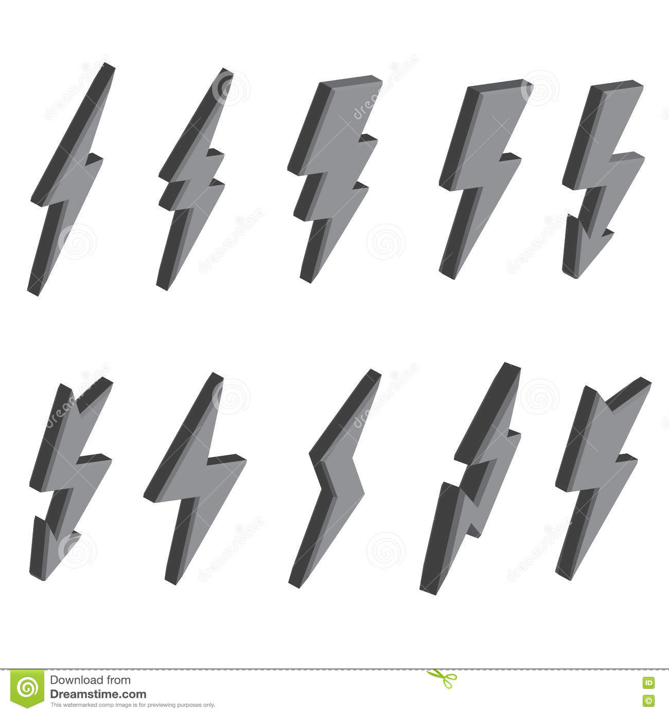 set of 3d lightning bolts and signs stock illustration
