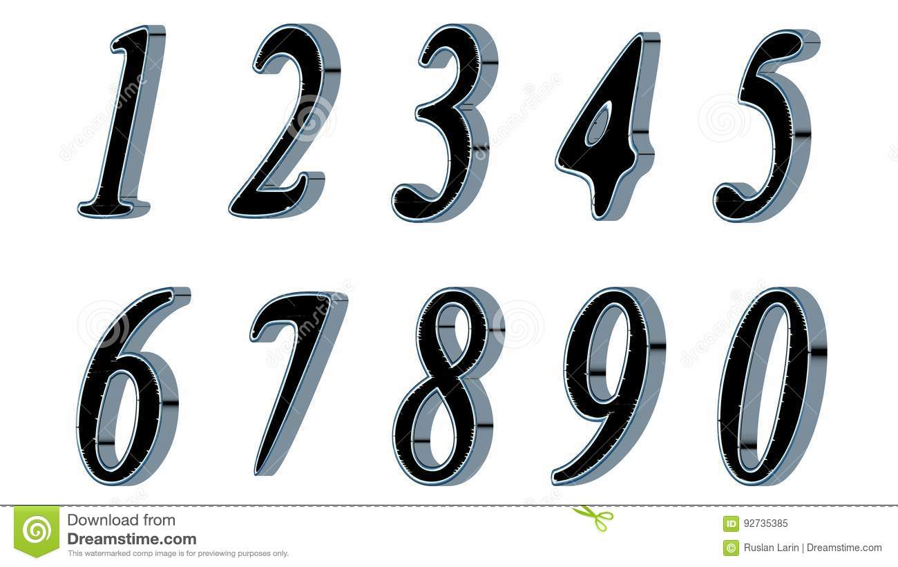 d8058708e542 Set of 3D numbers. Black font with metallic sides, in white background.  Isolated, easy to use.