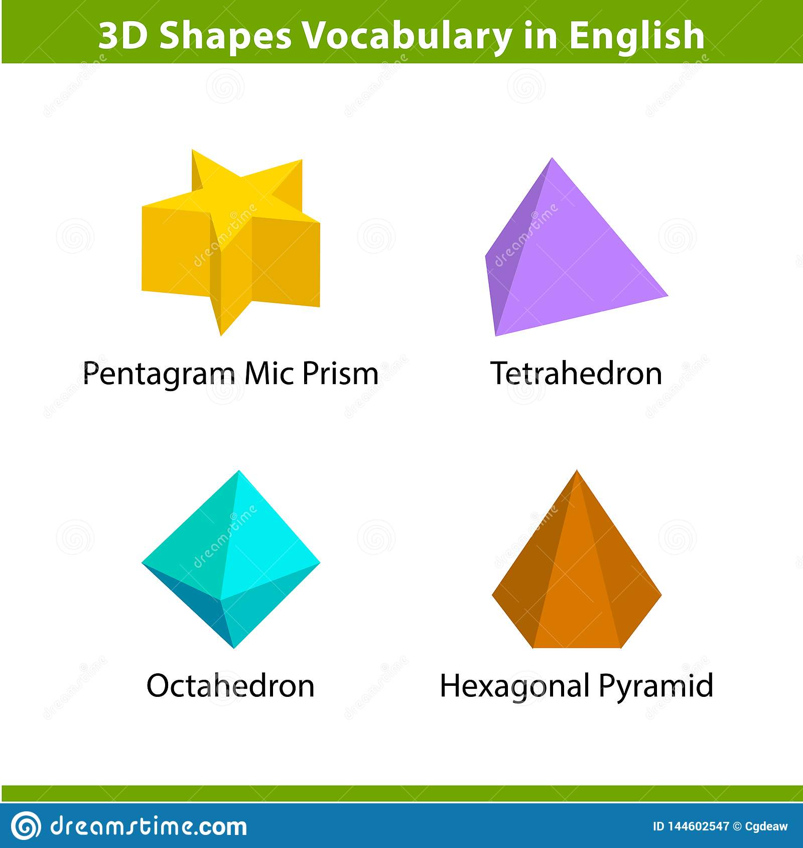 Set 3D Shapes Vocabulary In English With Their Name Clip Art