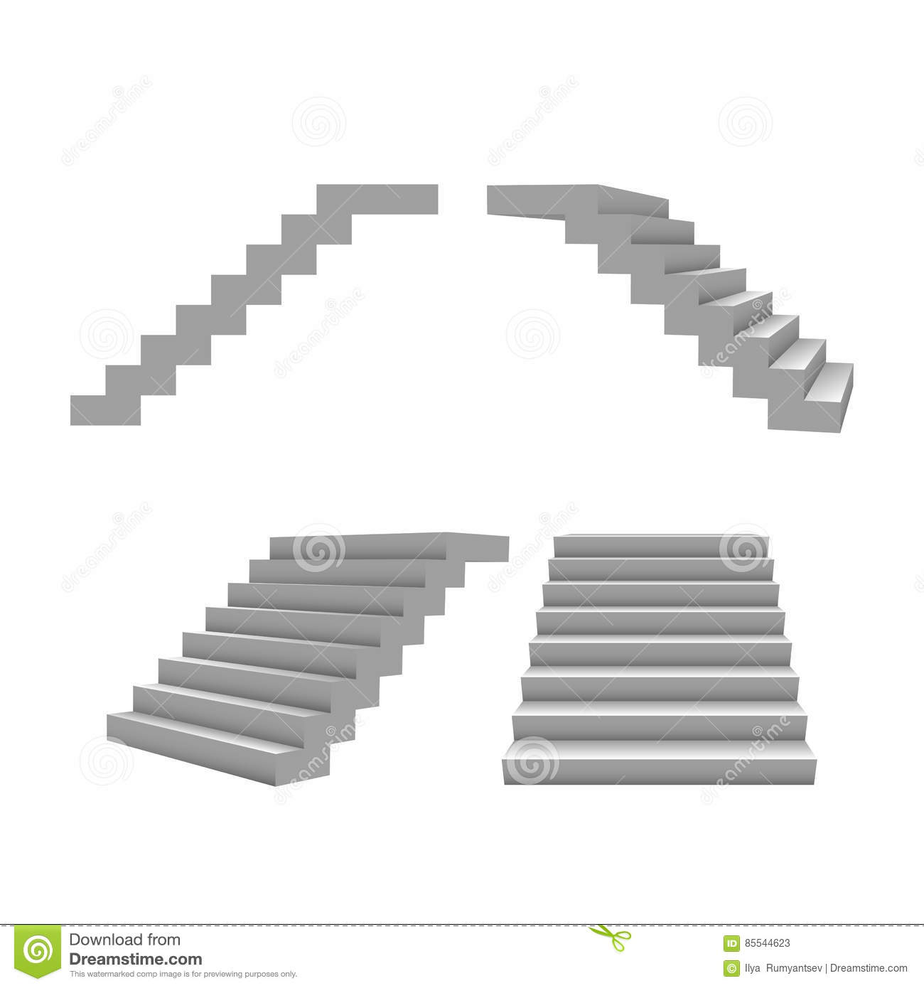 set of 3d stairs vector template for your design stock vector
