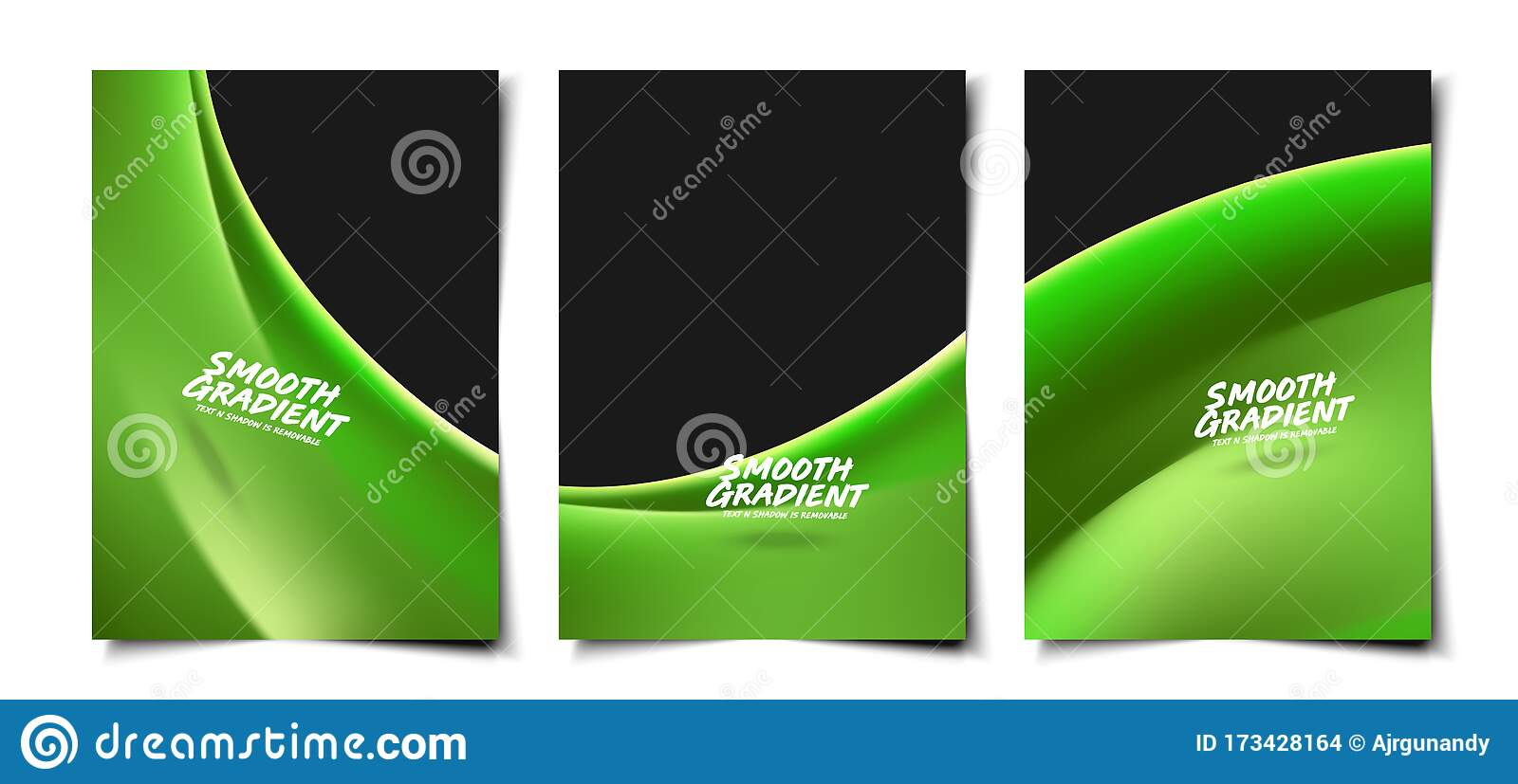 Set Of 3d Trendy Green Smooth Silk Liquid Wave Background Layout Cover Poster Wallpaper Design Template Stock Vector Illustration Of Magazine Abstract 173428164