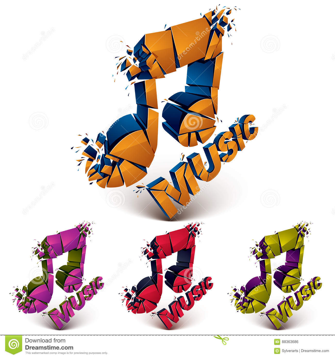 Set Of 3d Vector Shattered Musical Notes With Music Word Art Me