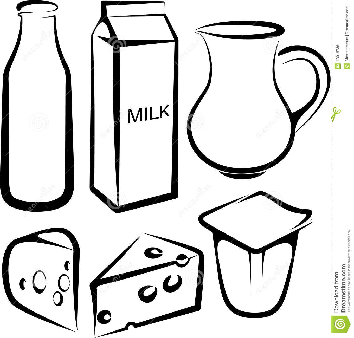 Yogurt Line Drawing : Set of dairy products stock vector illustration