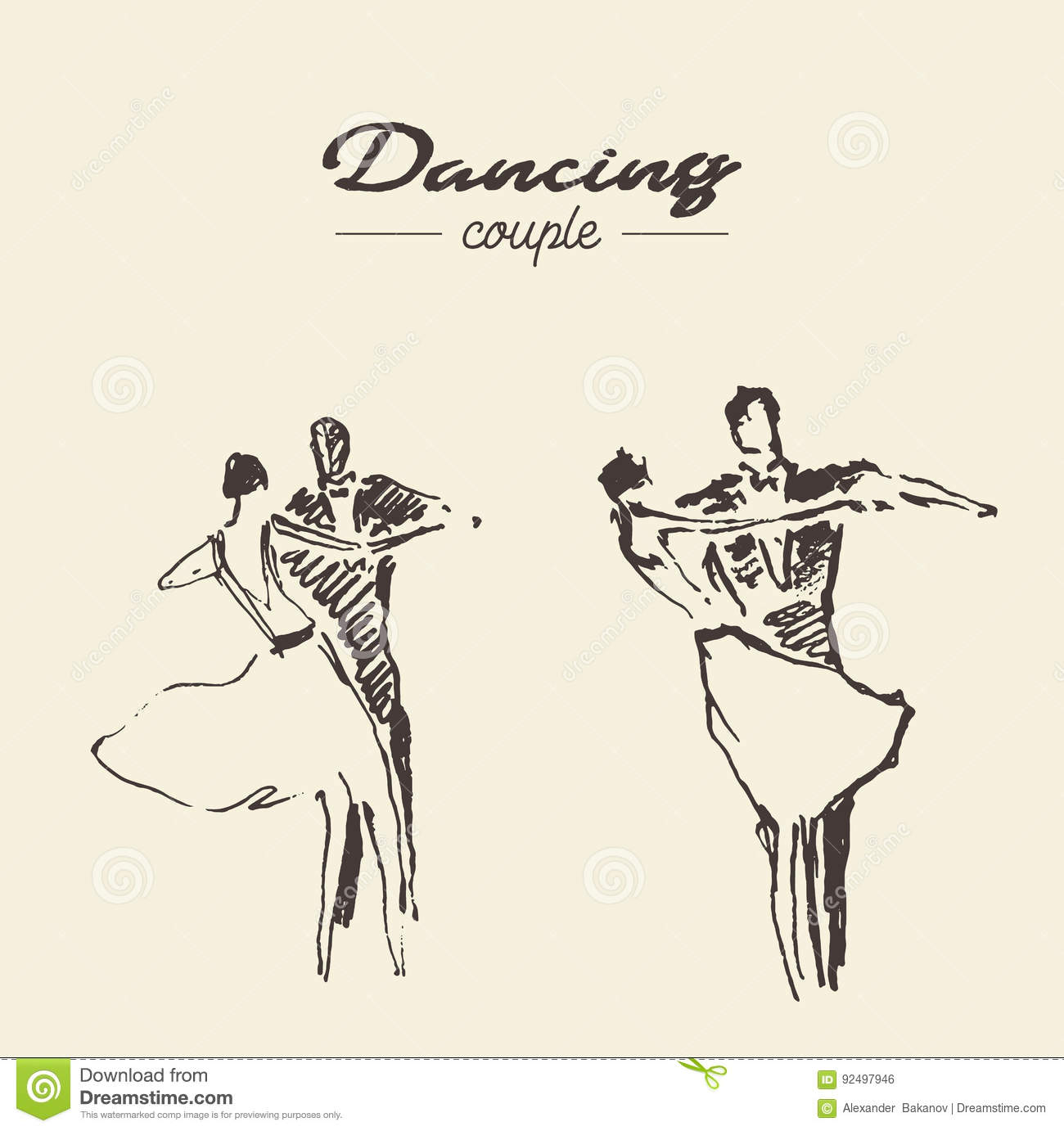 Collection of dancing couples hand drawn vector illustration sketch
