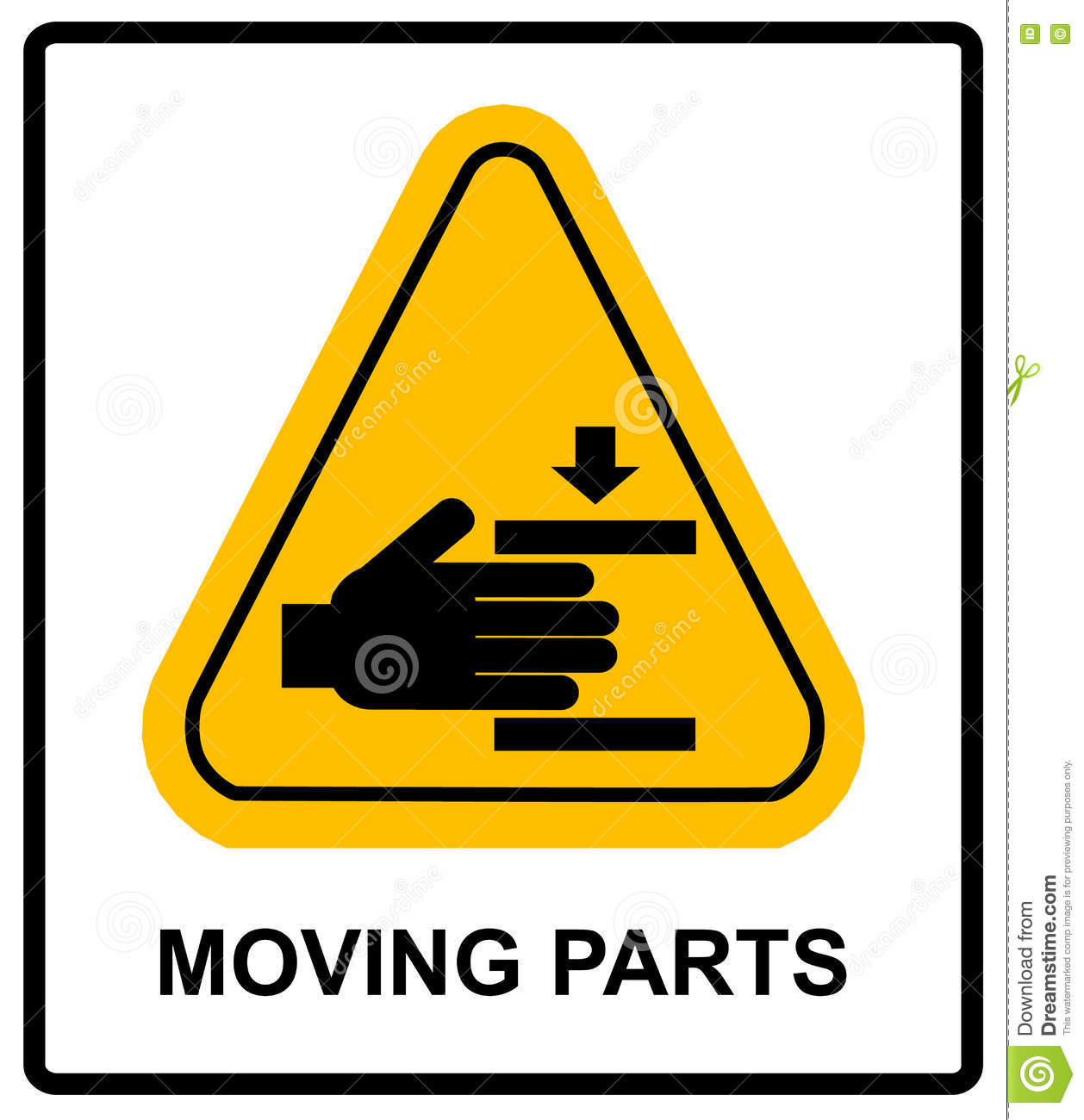 set of danger moving parts signs, vector illustration stock photo