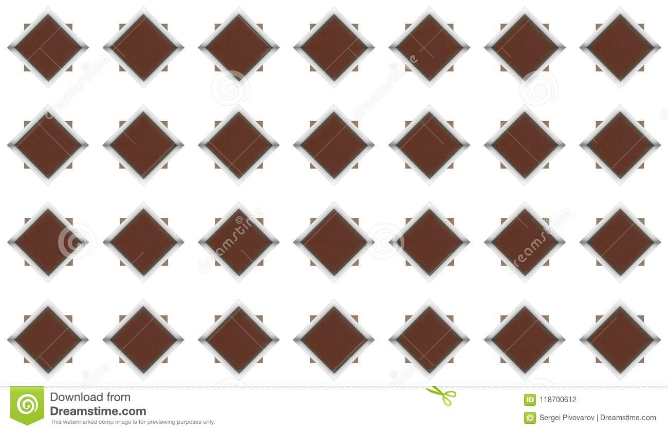 Set Of Dark Brown Rhombuses With Shiny Metal Frame And Cement Gray