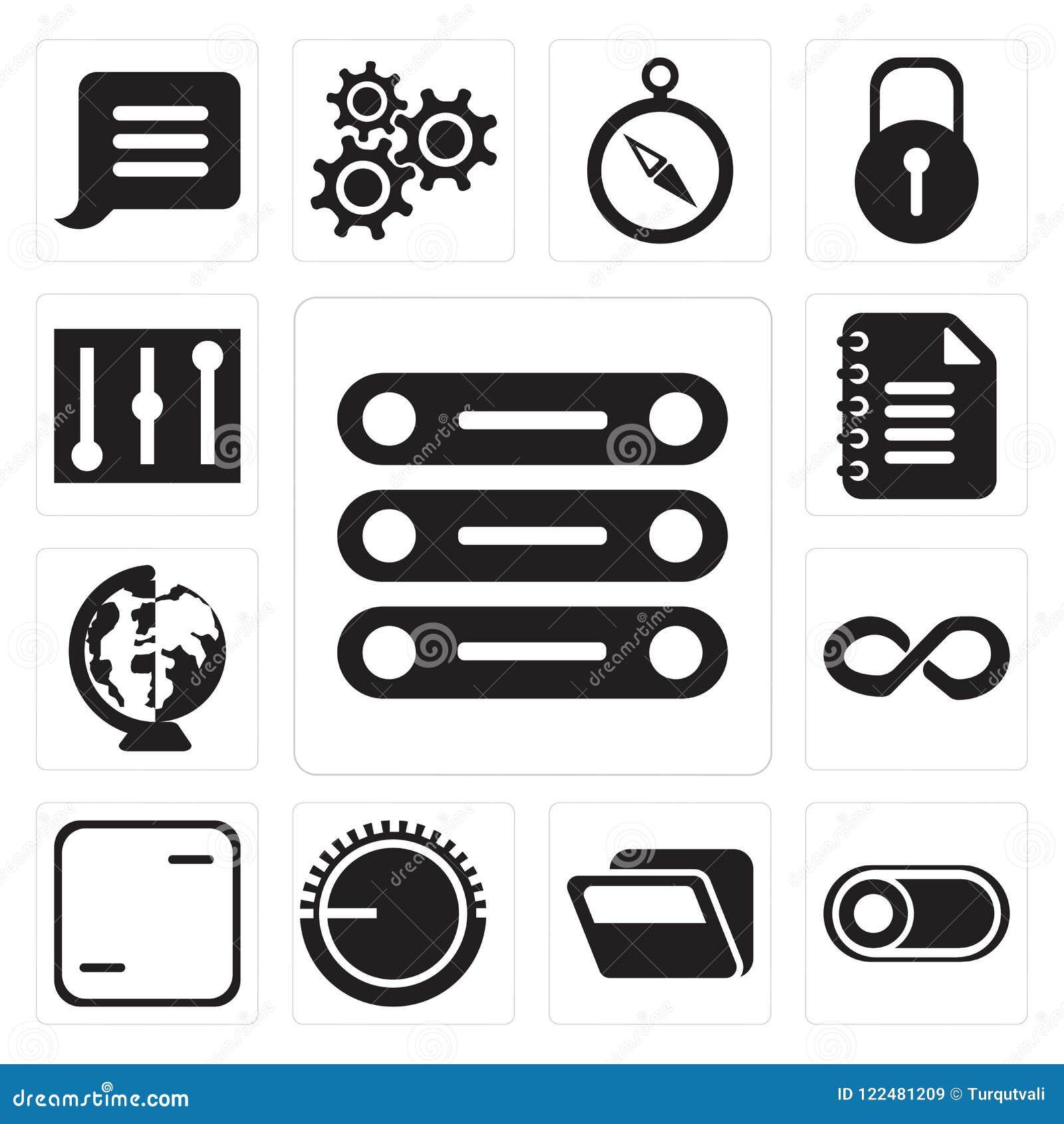 Set Of Database, Switch, Folder, Volume Control, Frame, Infinity ...