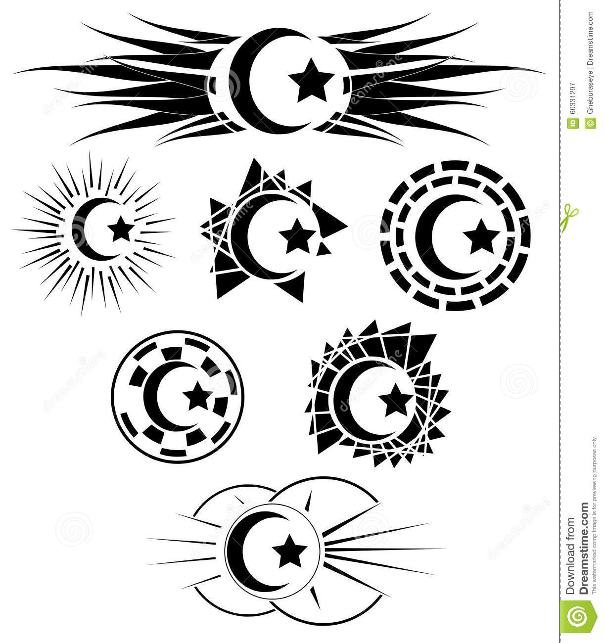 Set of decorated half moon with star stock vector illustration set of decorated half moon with star biocorpaavc