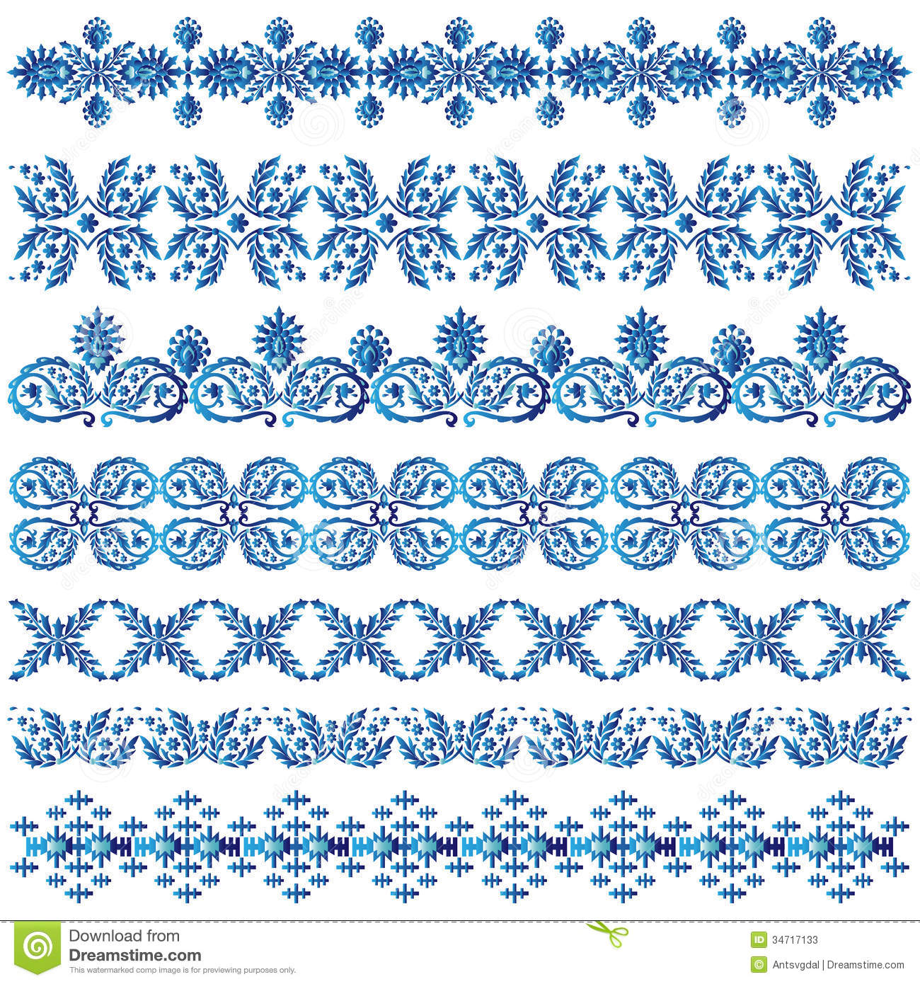 Set Of Decorative Borders Stock Vector Image Of White