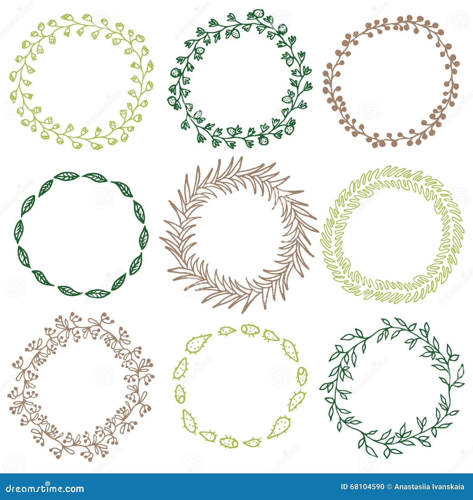 Set Of Decorative Circle Frames Stock Vector Illustration Of Card
