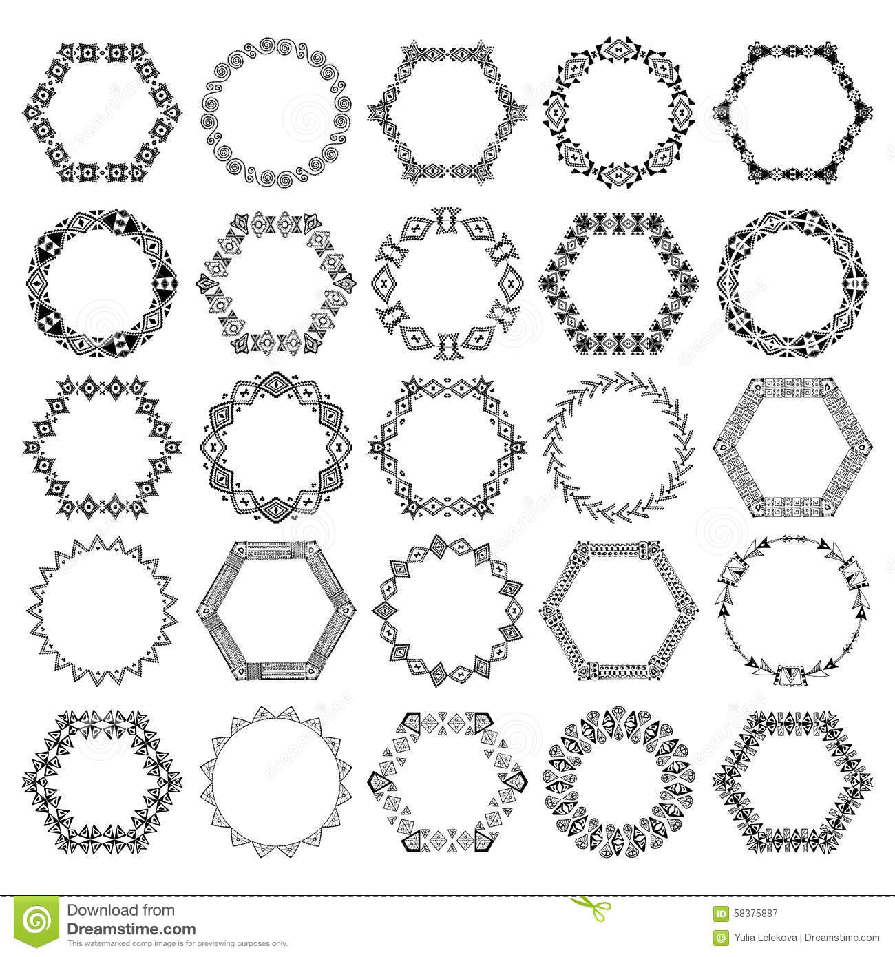 Set Of Decorative Circular And Hexagon Elements For Design In Ethnic ...