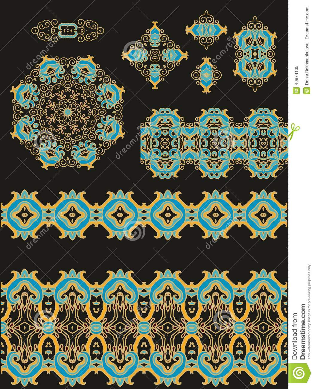 Set of decorative elements in medieval style stock for Gothic design elements