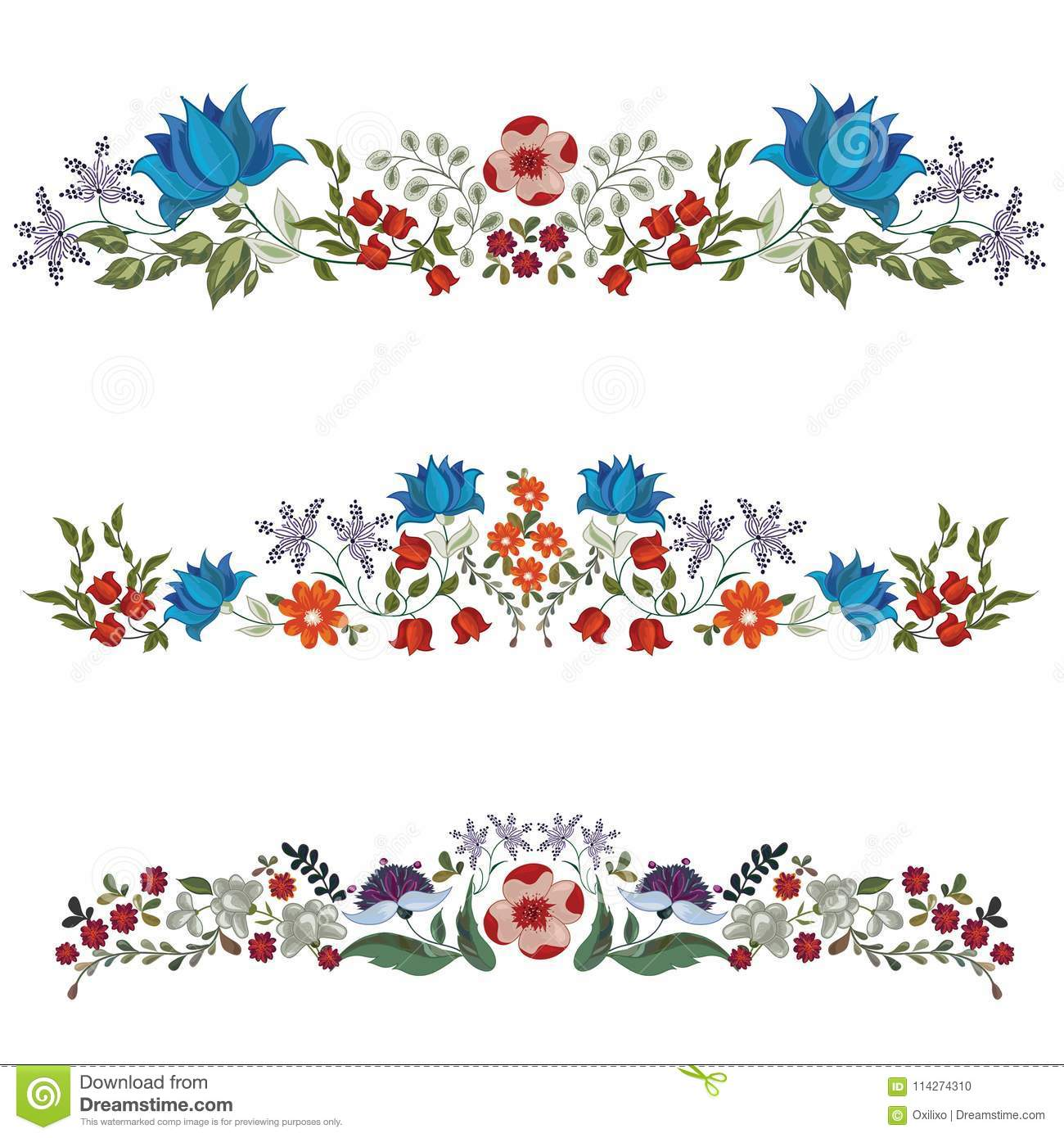Set Of Decorative Floral Borders Stock Vector Illustration Of