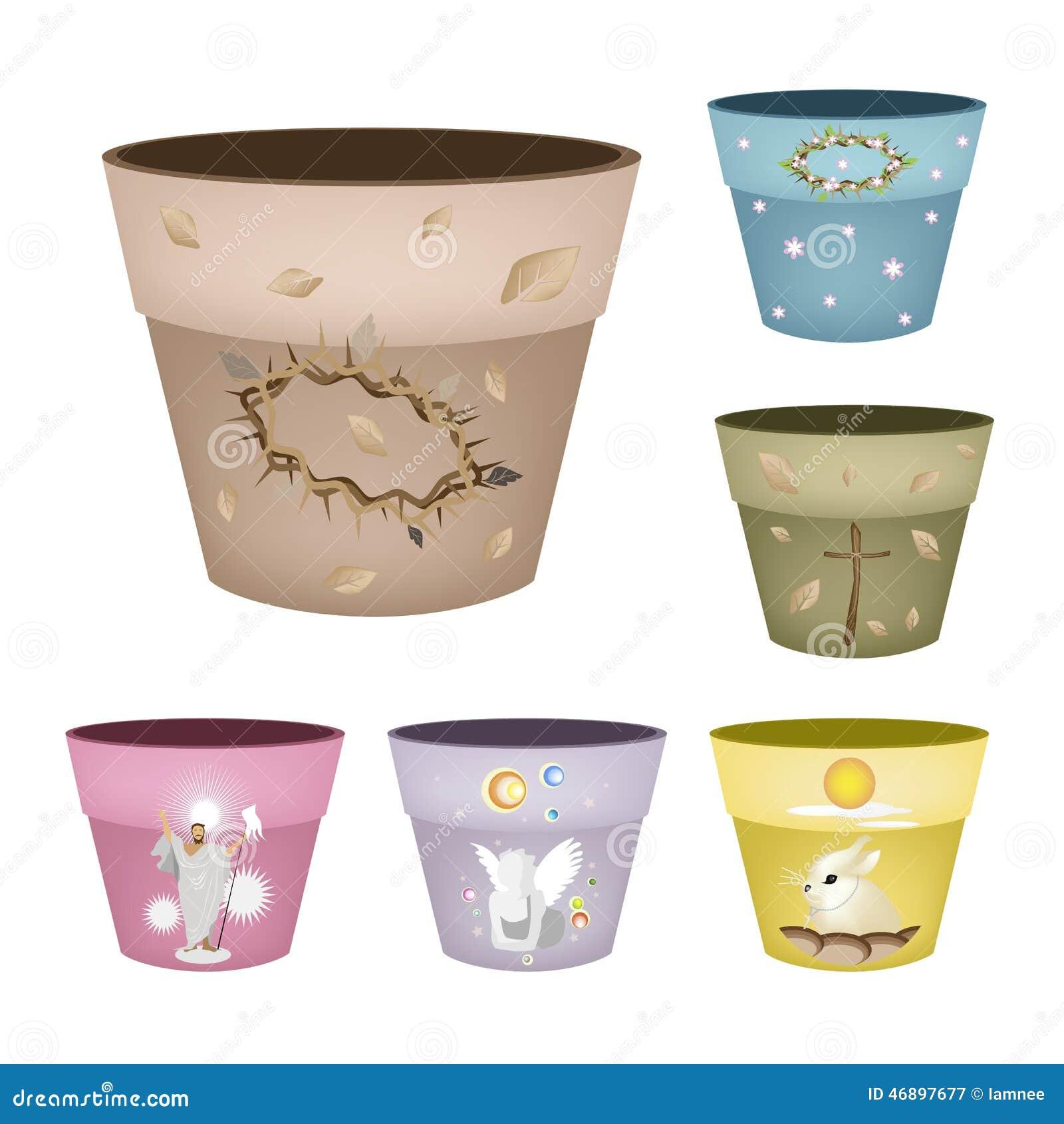 Set Of Decorative Flower Pots On White Background Stock