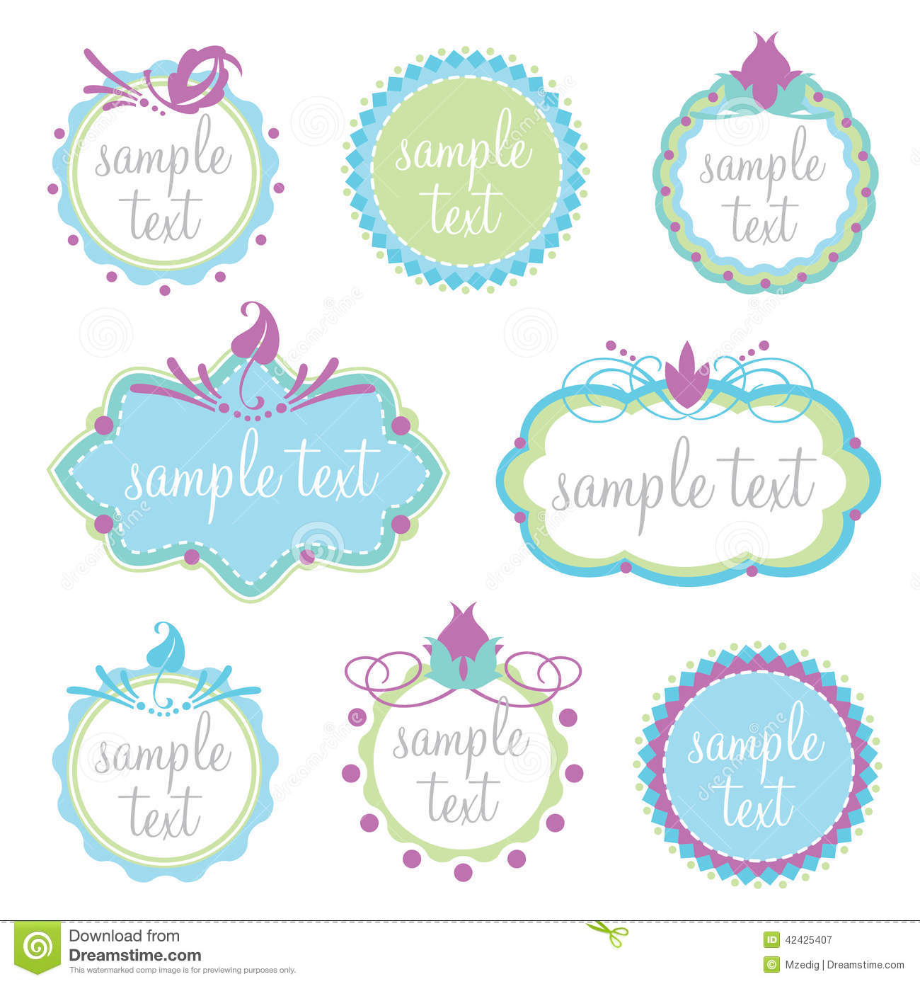 Set of decorative frames stock vector image 42425407 for Stickers para pared decorativos