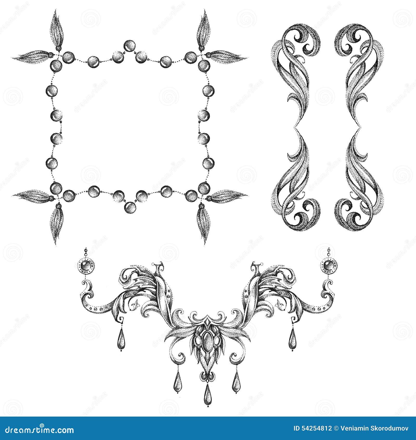 A Set Of Decorative Frames And Design Elements, Floral Ornaments ...