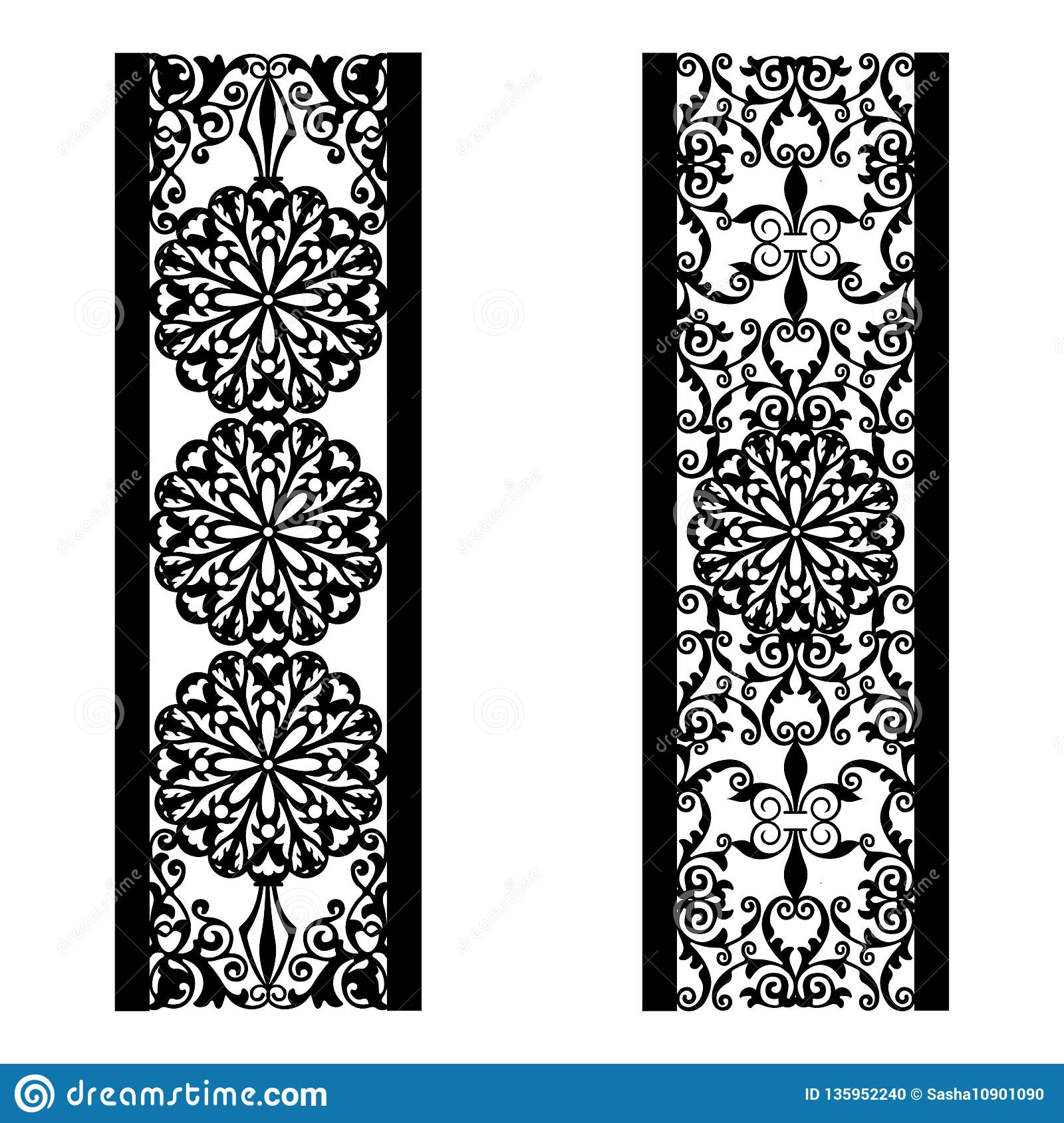 Decorative Black Flower Border Stock Image: Decorative Background With Ornamental Border And Frame