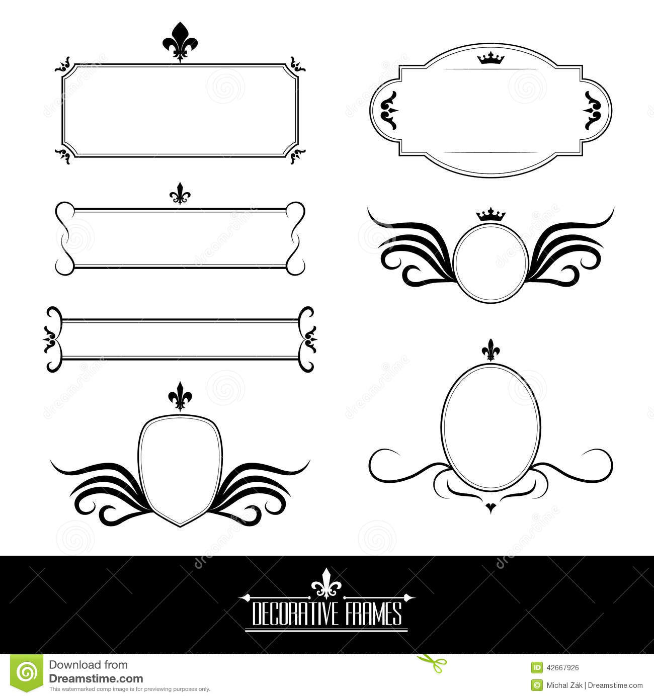Set Of Decorative Ornate Frames And Borders Stock Vector