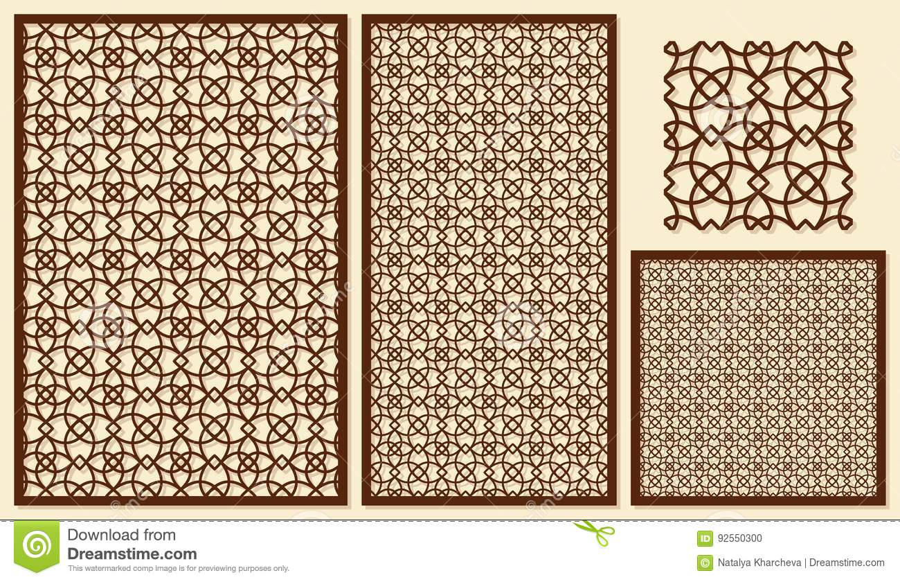Set Of Decorative Panels Laser Cutting. Template Geometric Patte ...