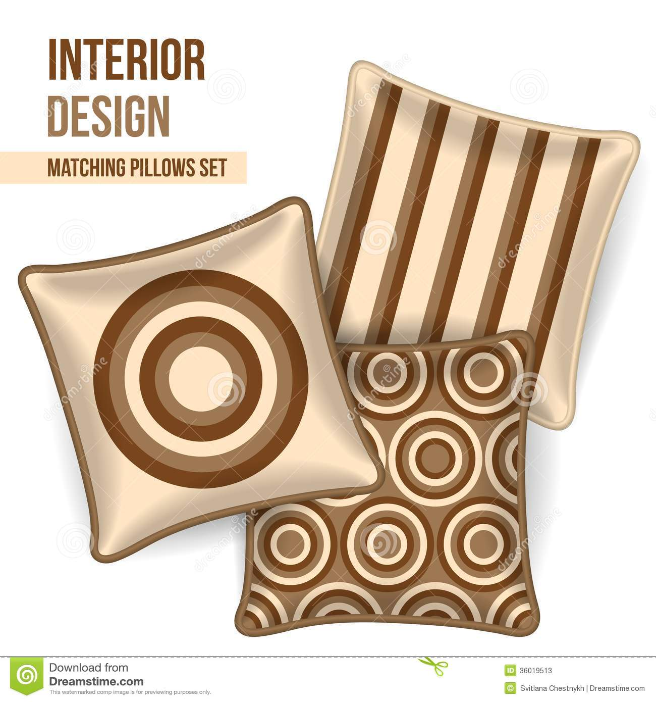 Set of matching decorative pillows for interior design brown