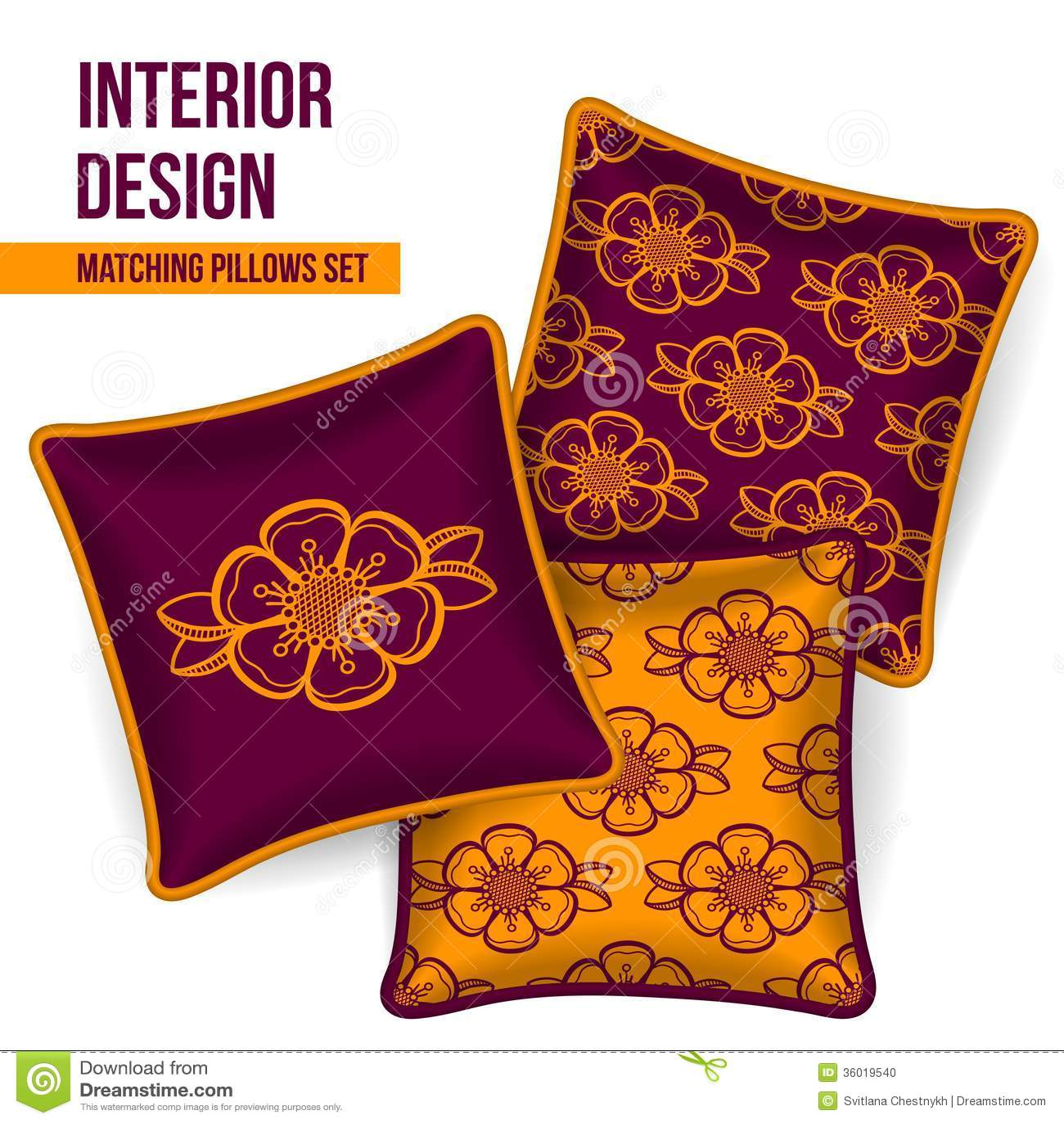 Throw Pillows With Matching Rug : Set Of Decorative Pillow Stock Photo - Image: 36019540