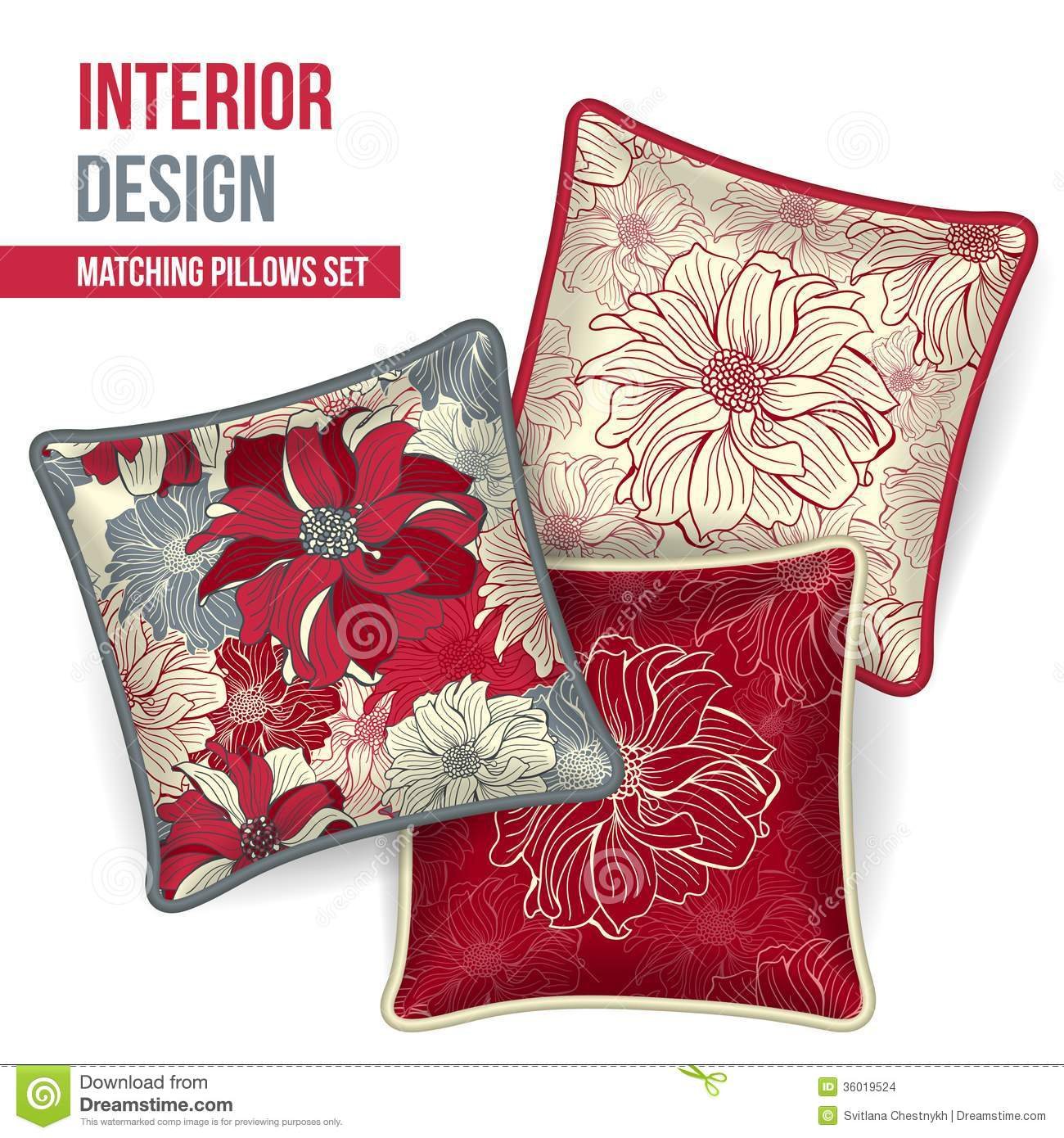 Set of matching decorative pillows for interior design red flower
