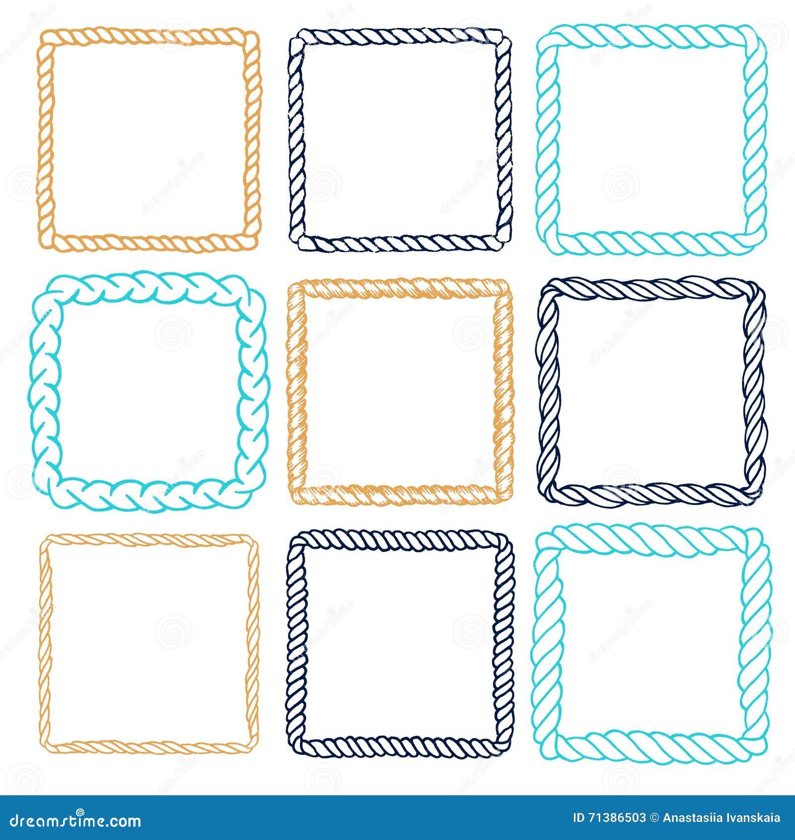 Decorative frames set download free vector art stock graphics - Set Of 9 Decorative Square Border Frames Stock Vector