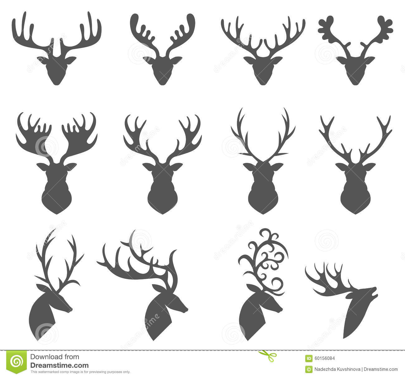 Set Of A Deer Head Silhouette On White Background Stock