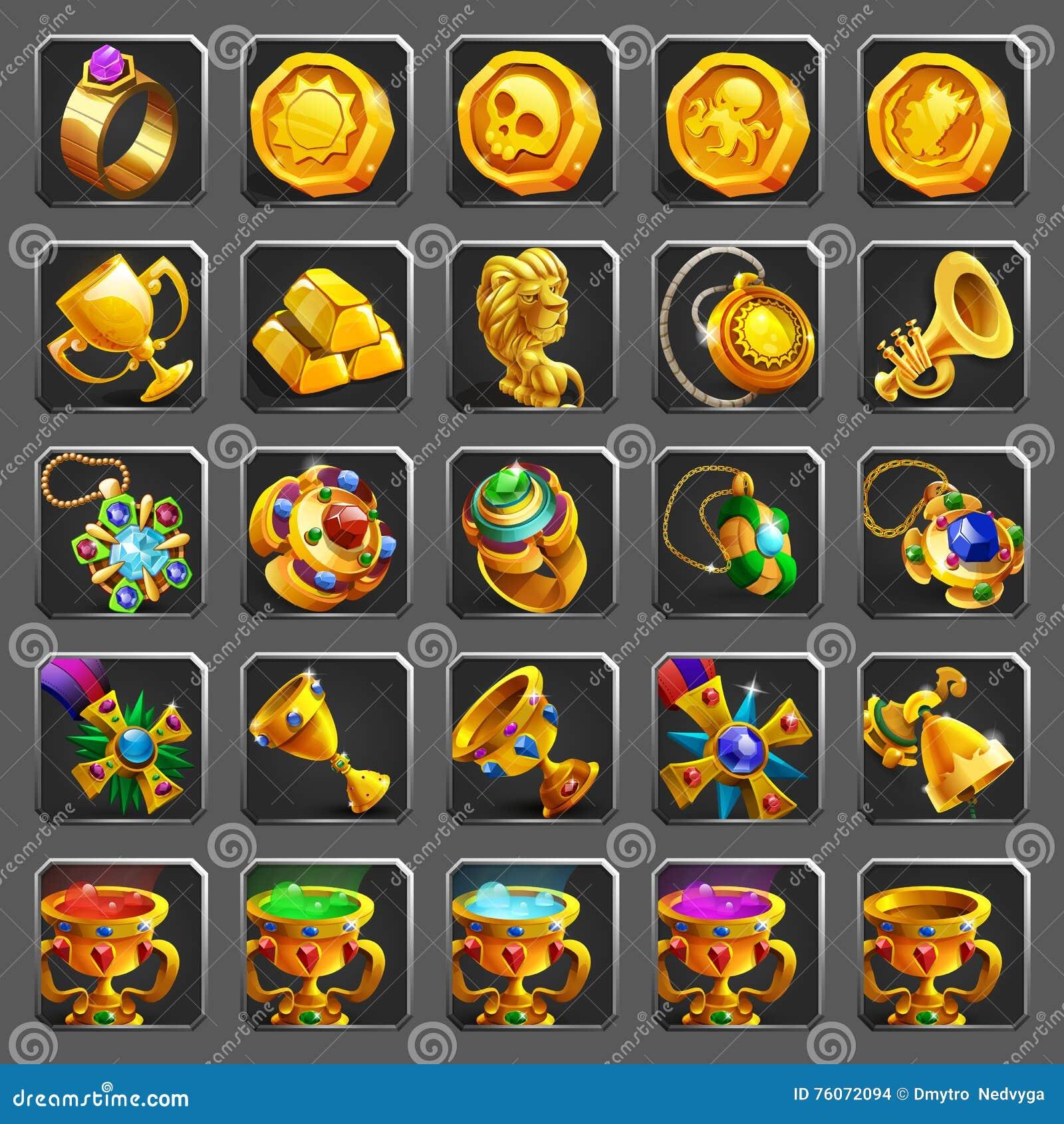Set dekoracj ikony dla gier Złota nagroda, skarb, osiągnięcie i żeton,