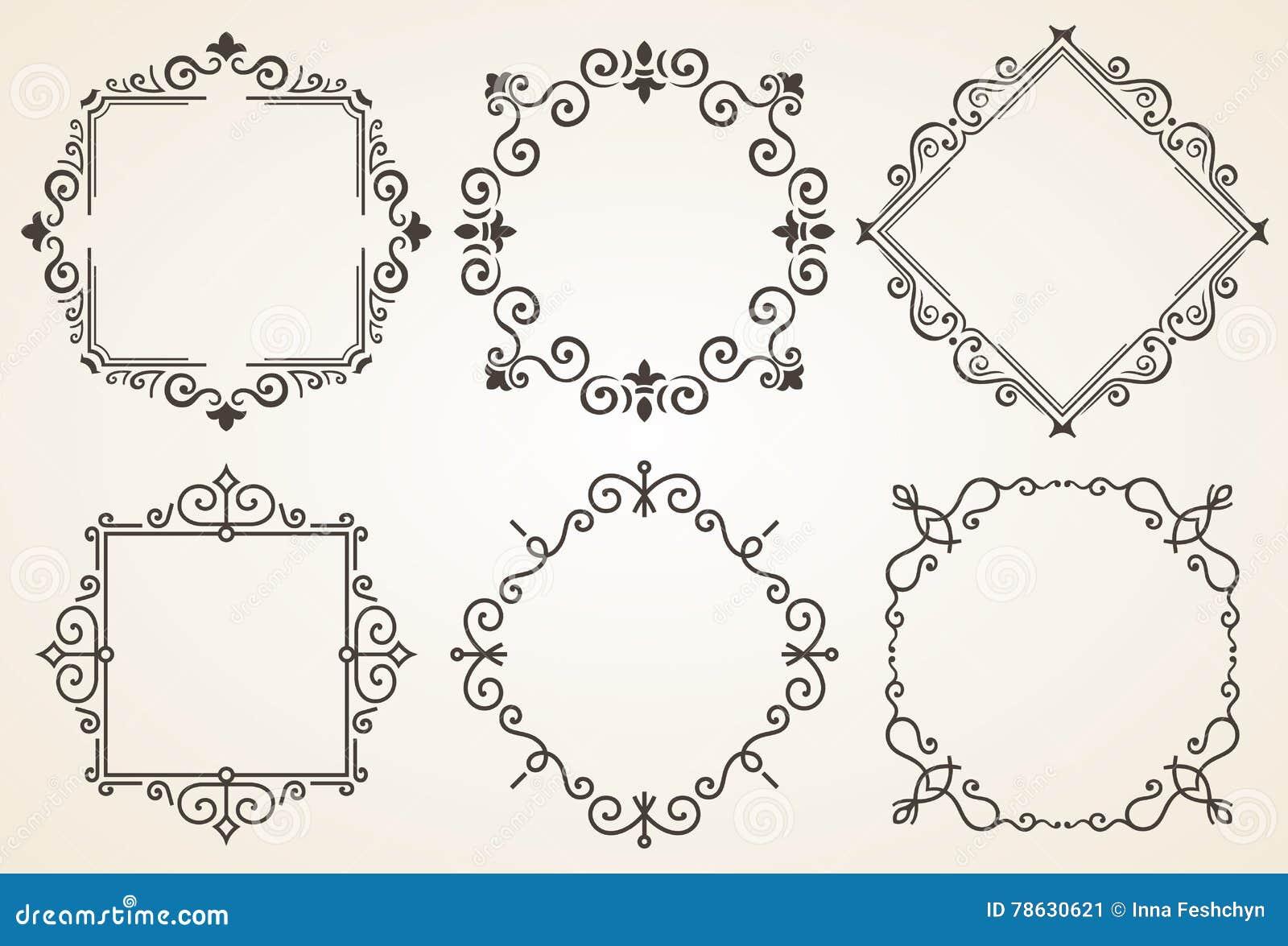 Set dekoracyjna rama wektoru ilustracja Elegancka luksusowa rocznik kaligrafii rama tła karciana powitania strony szablonu cechy