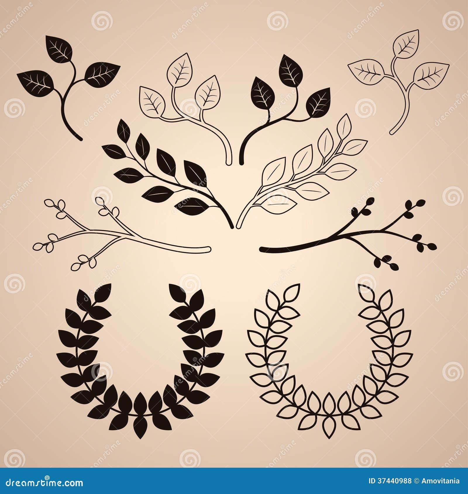 Set Dekoracyjny rocznik Rozgałęzia się i Wreathes