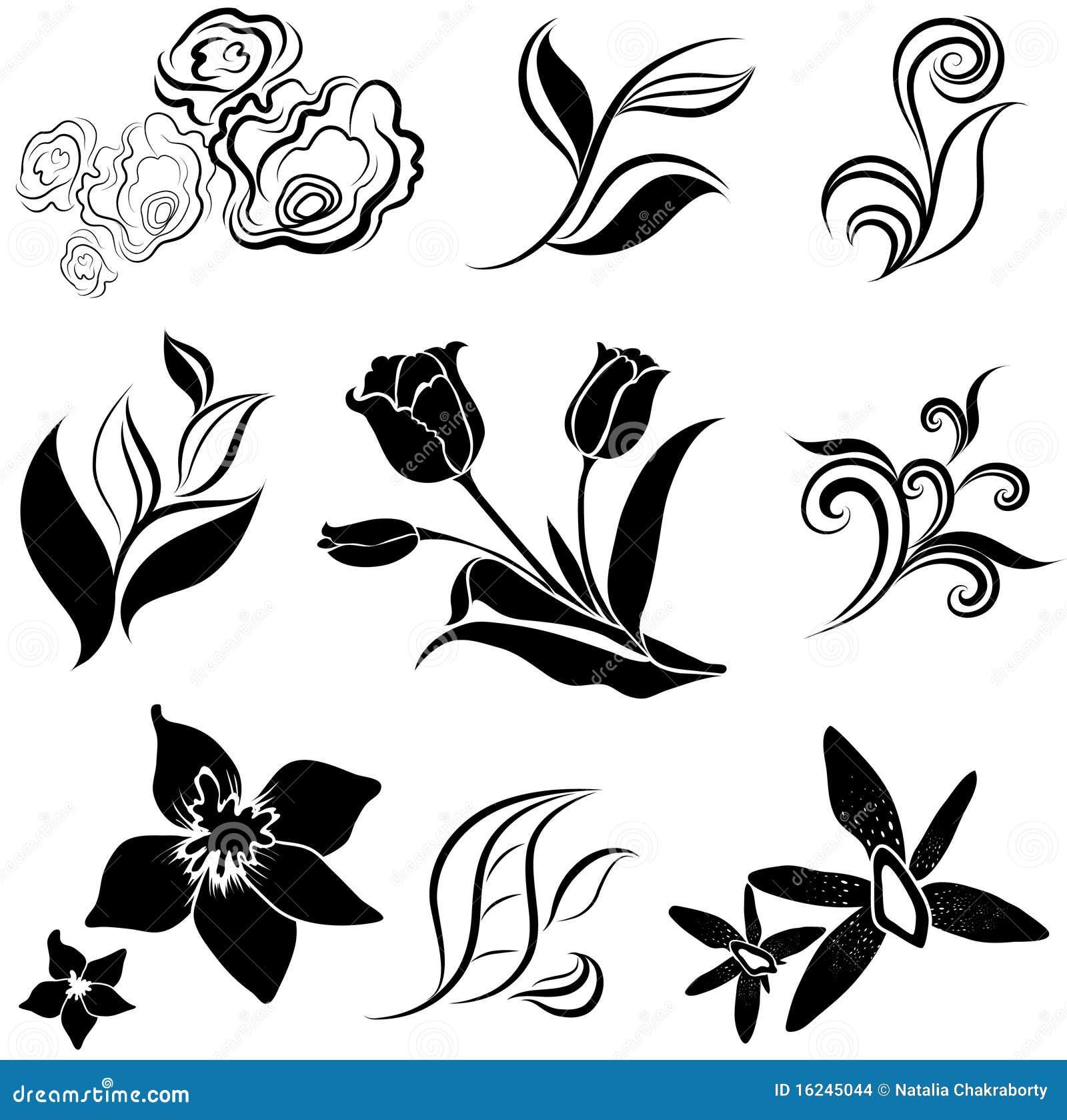 Set der schwarzen Blume und Blätter konzipieren Elemente