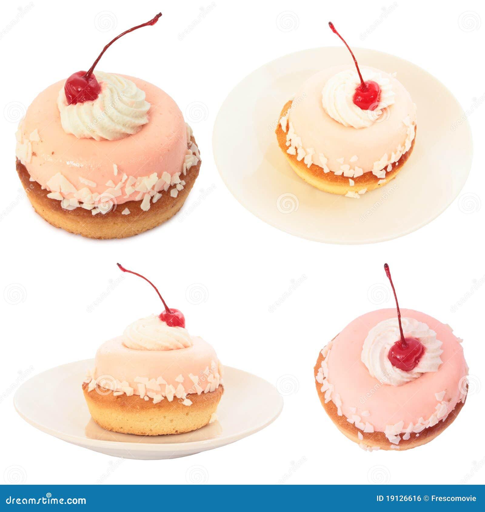 Set des süßen Kuchens mit Kirsche