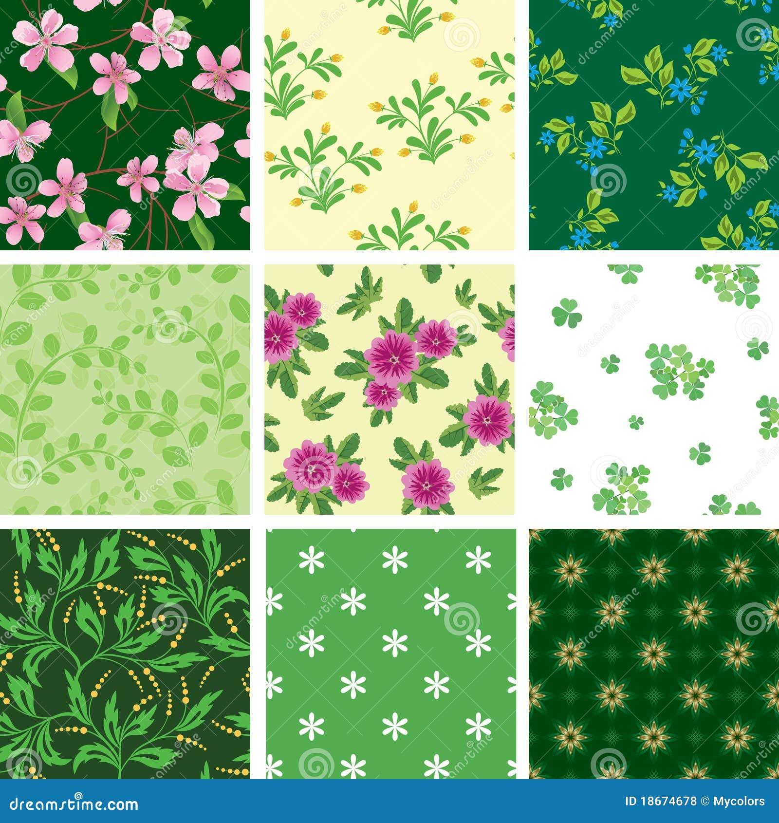 Set des verschiedenen nahtlosen Blumenmusters