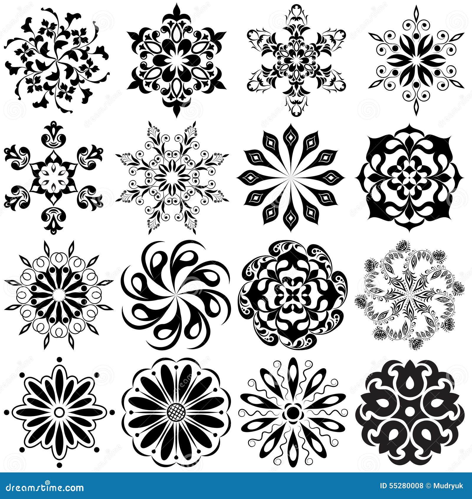 set deseniowy tatua 16 mandalas w czerni ilustracja wektor obraz 55280008. Black Bedroom Furniture Sets. Home Design Ideas