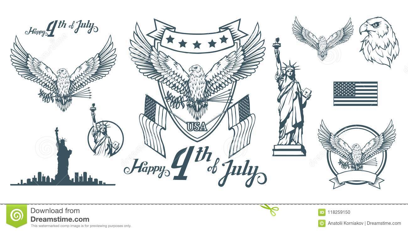 Set For Design Of Americas Independence Day Traditional Symbols Of