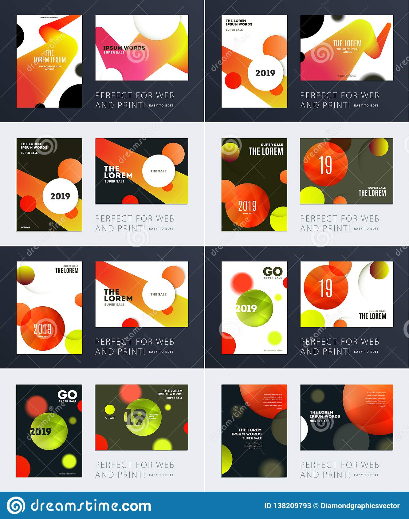 Set of Design of brochure soft template cover. Colourful modern abstract, annual report with shapes for branding.
