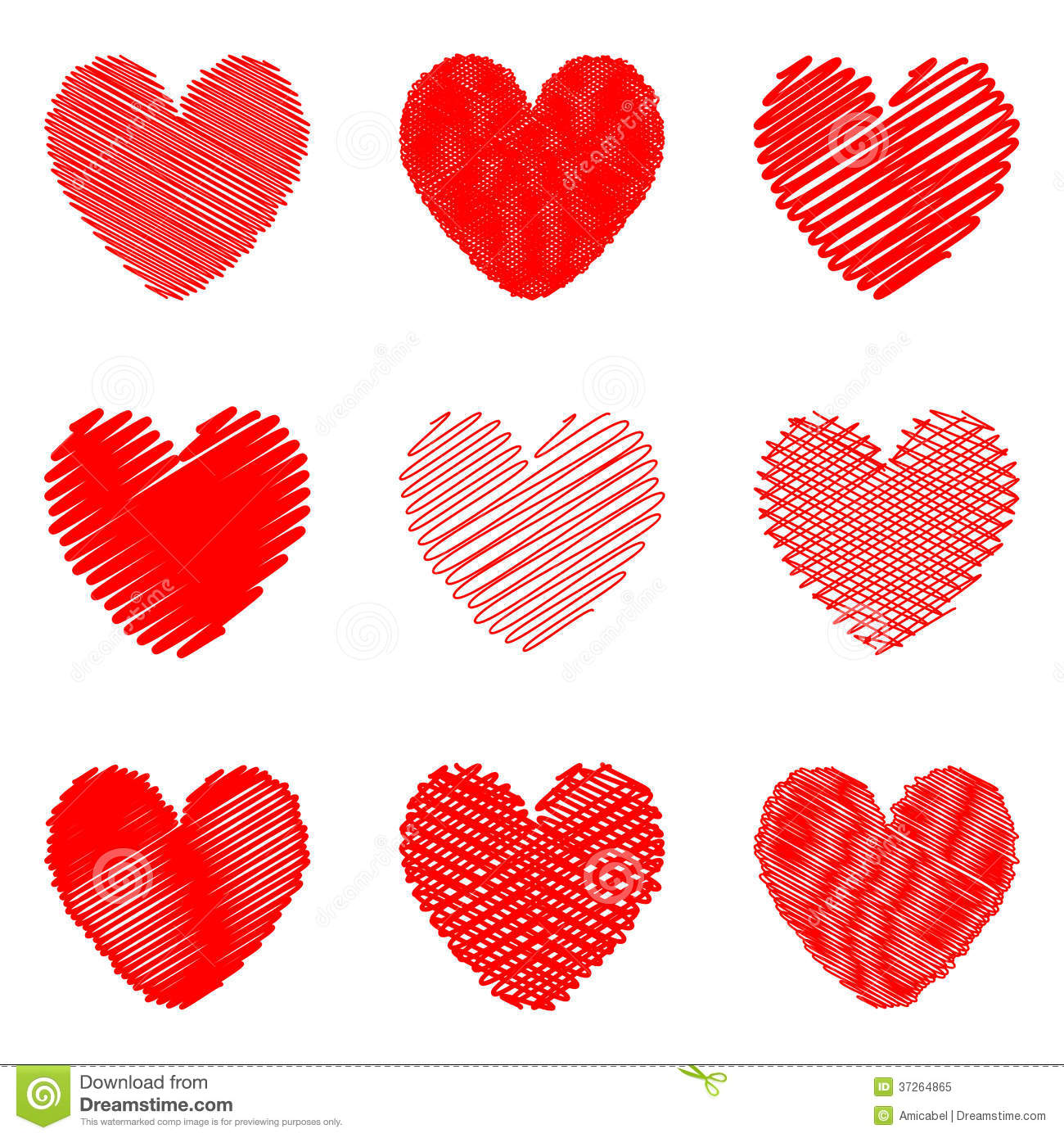 Set Of Design Drawn Heart Icons For Valentines Day Stock Vector