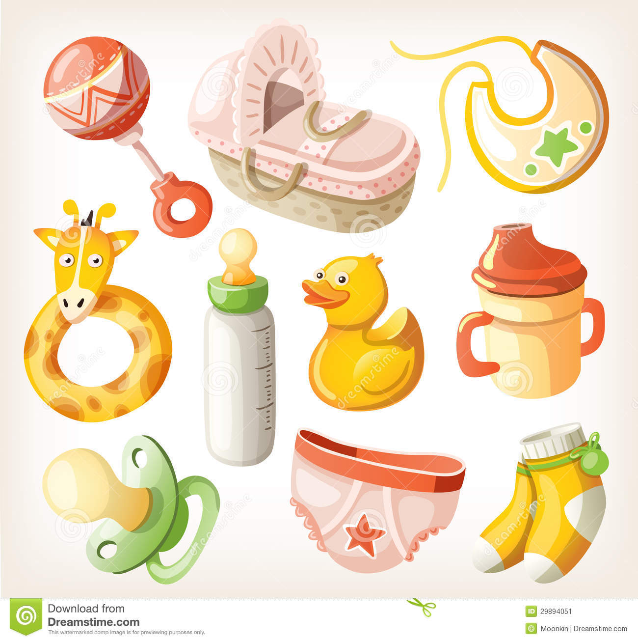 Set of design elements for baby shower