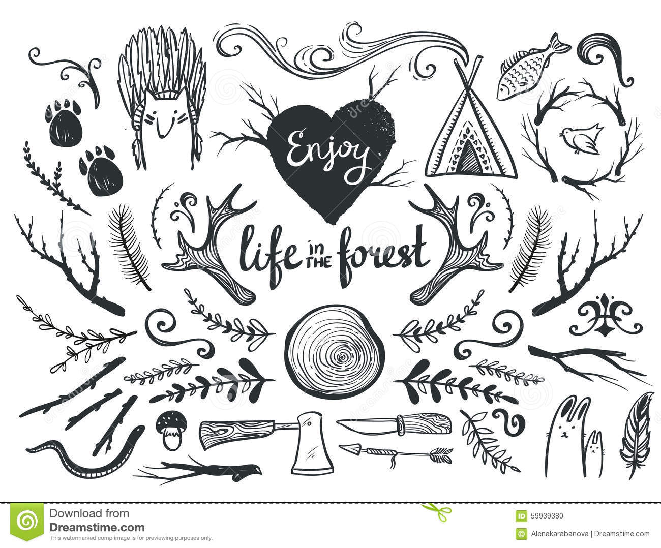 Set Of Design Elements And Clip Art Themed Around Animals ,camping ...