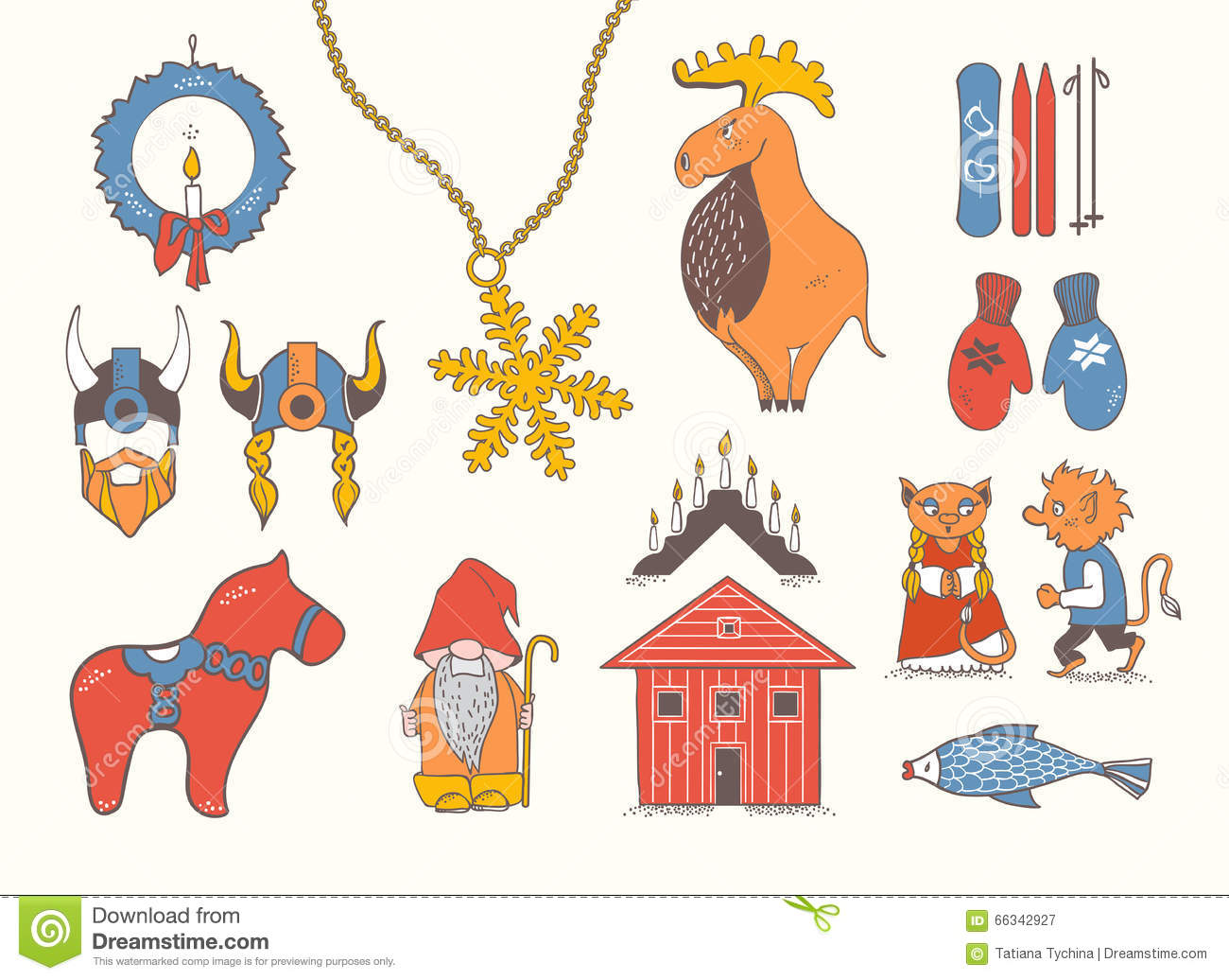 set design elements symbols sweden denmark iceland attributes scandinavian countries norway moose gnome 66342927