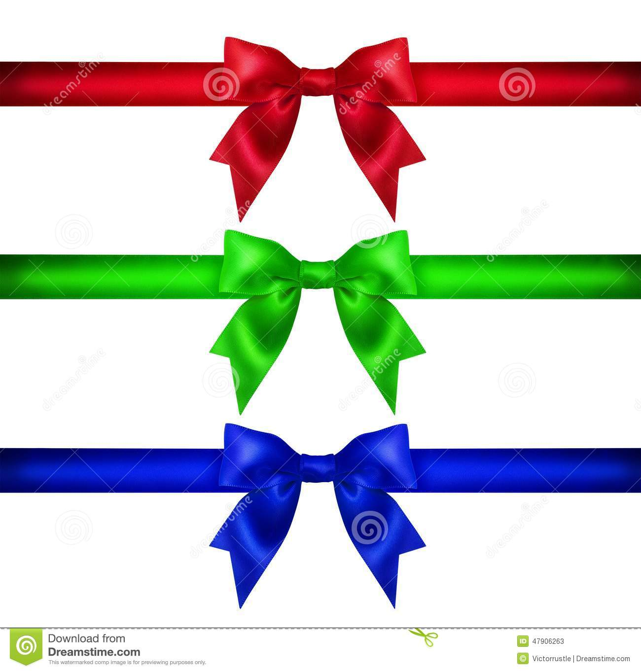 Set for design red blue green christmas ribbon bow gift