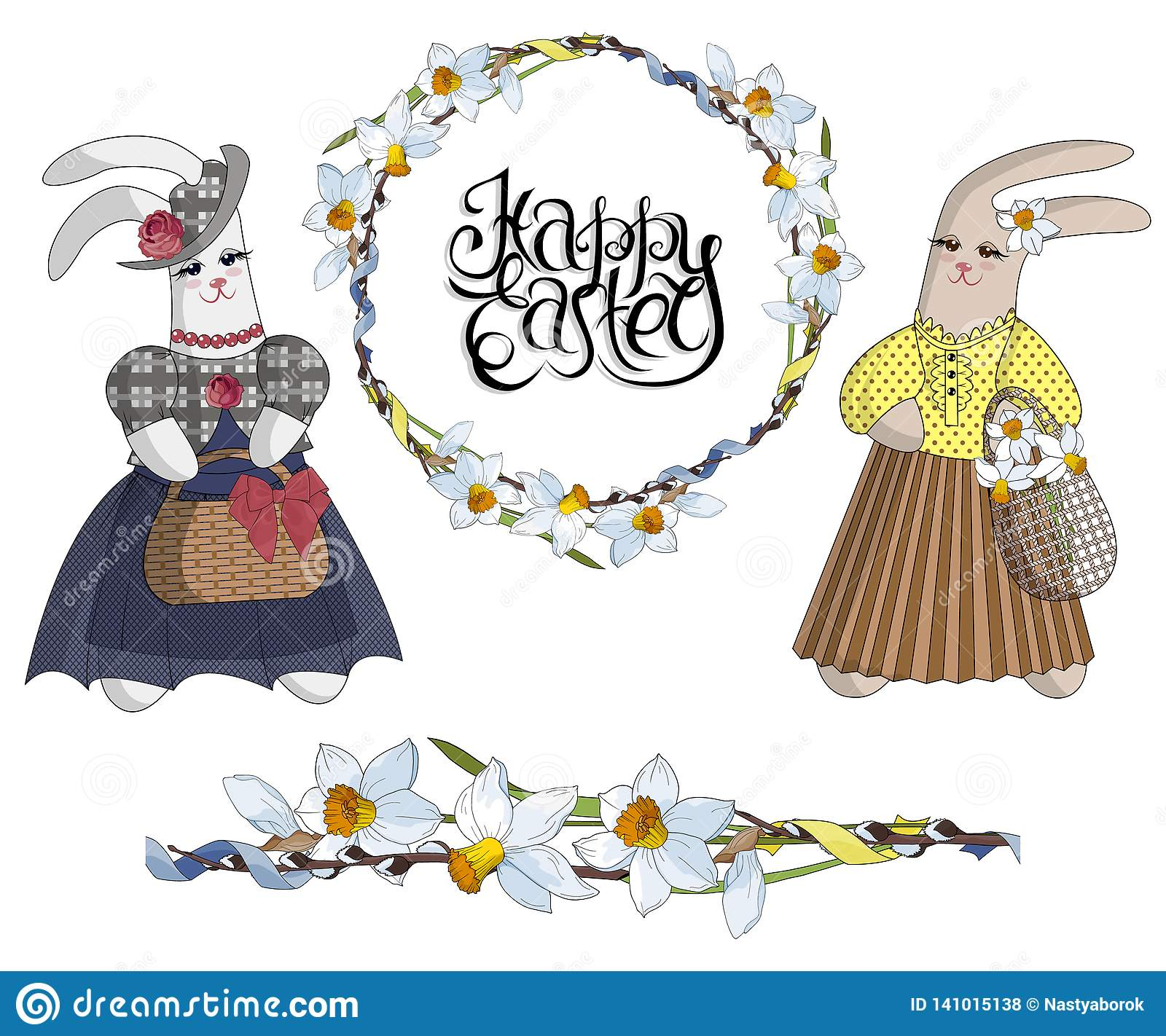 3219a760dc2b3 Set of designer items: easter wreath of daffodils, seamless flower brush  and fashionable rabbits in dresses. Anthropomorphic animals. Vector  isolated ...