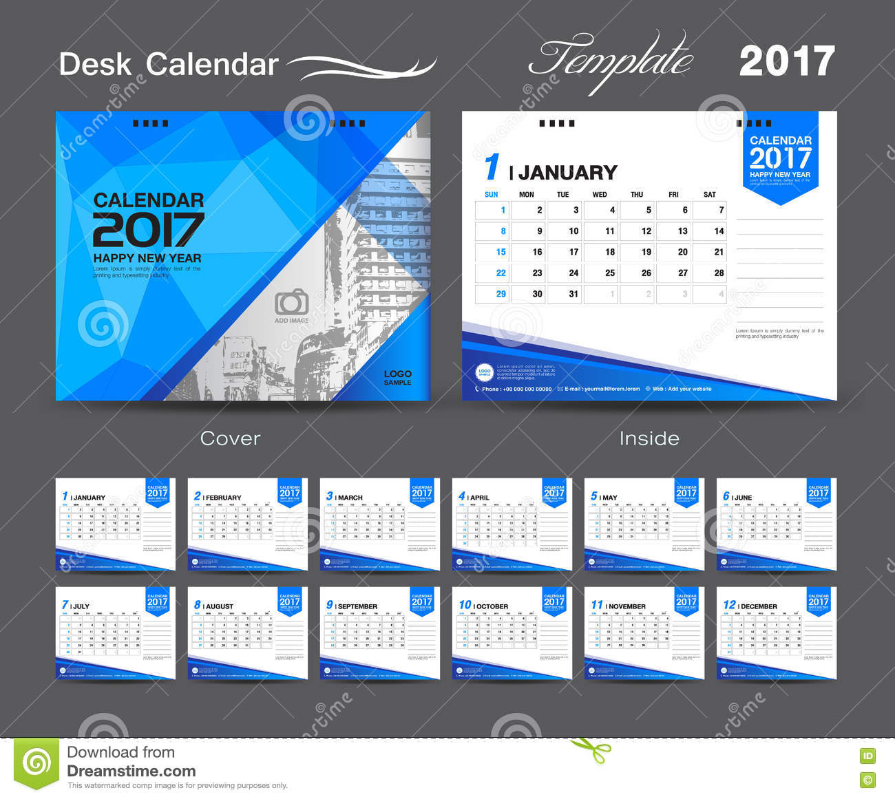 Cover Calendar Design Vector : Set desk calendar template design cover