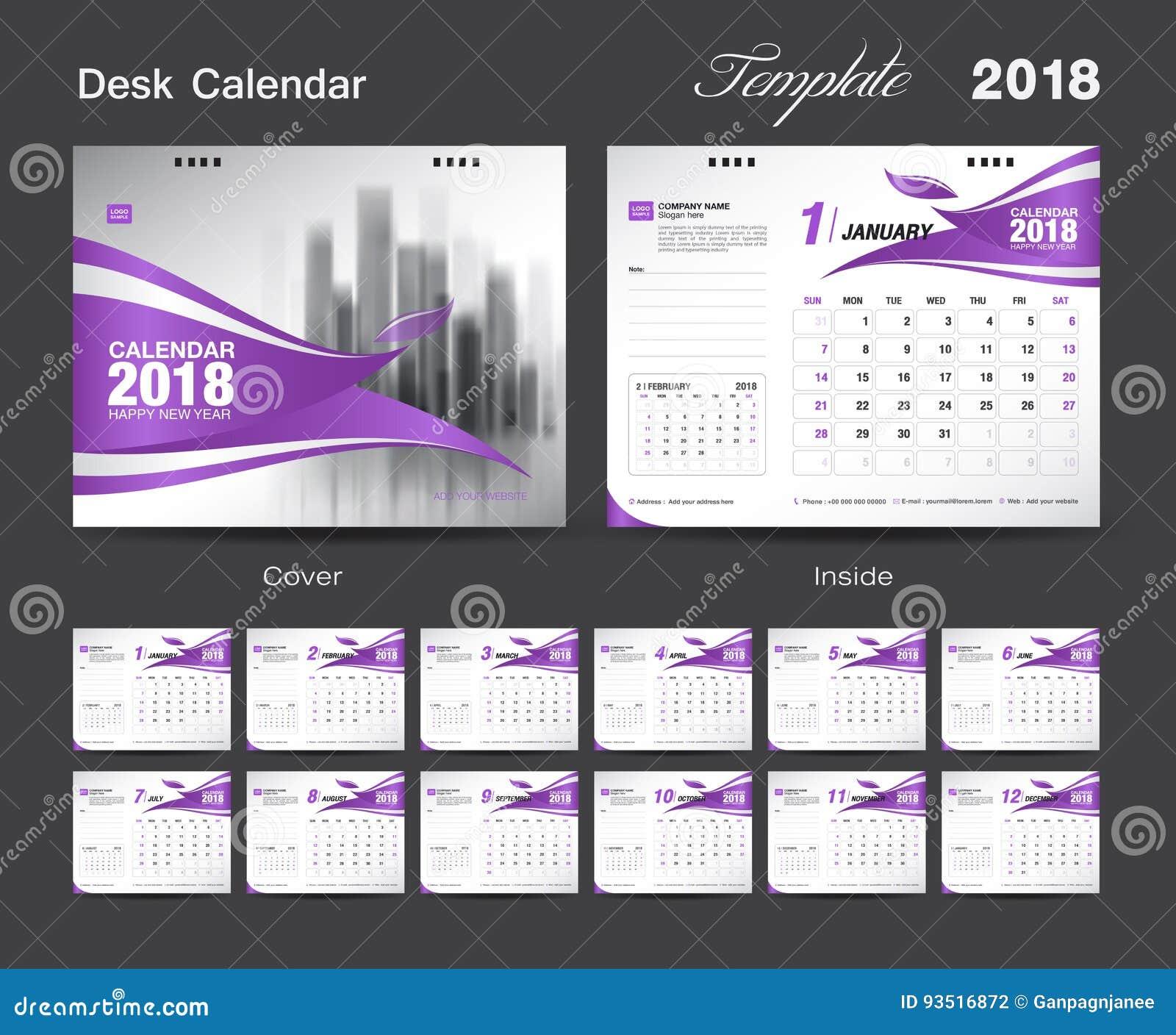 Set Desk Calendar 2018 Template Design, Red Cover Stock Vector ...