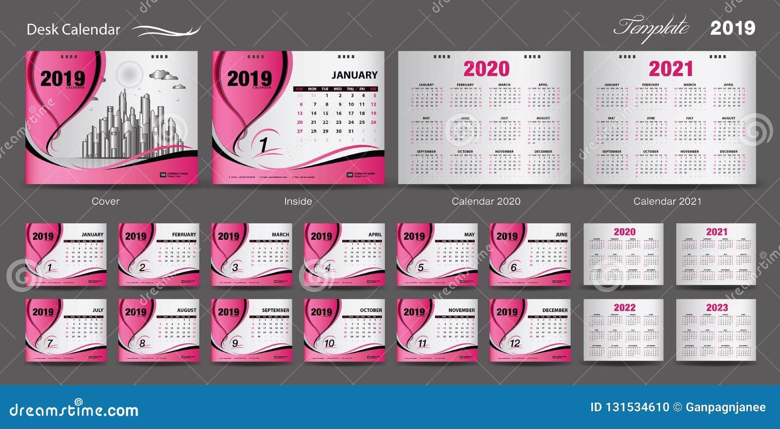 Set Desk Calendar 2019 Template Design Vector, Calendar 2020, 2021