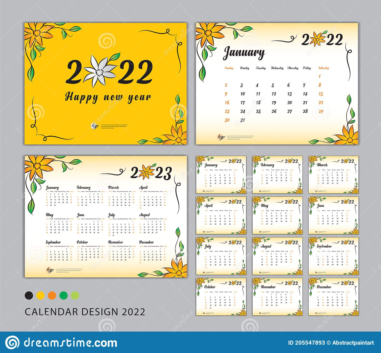 Desk Calendar 2022 Template Set Flower Concept Calendar 2022 2023 Happy New Year 2022 Year Wall Calendar 2022 Design Stock Vector Illustration Of Business Flower 205547893