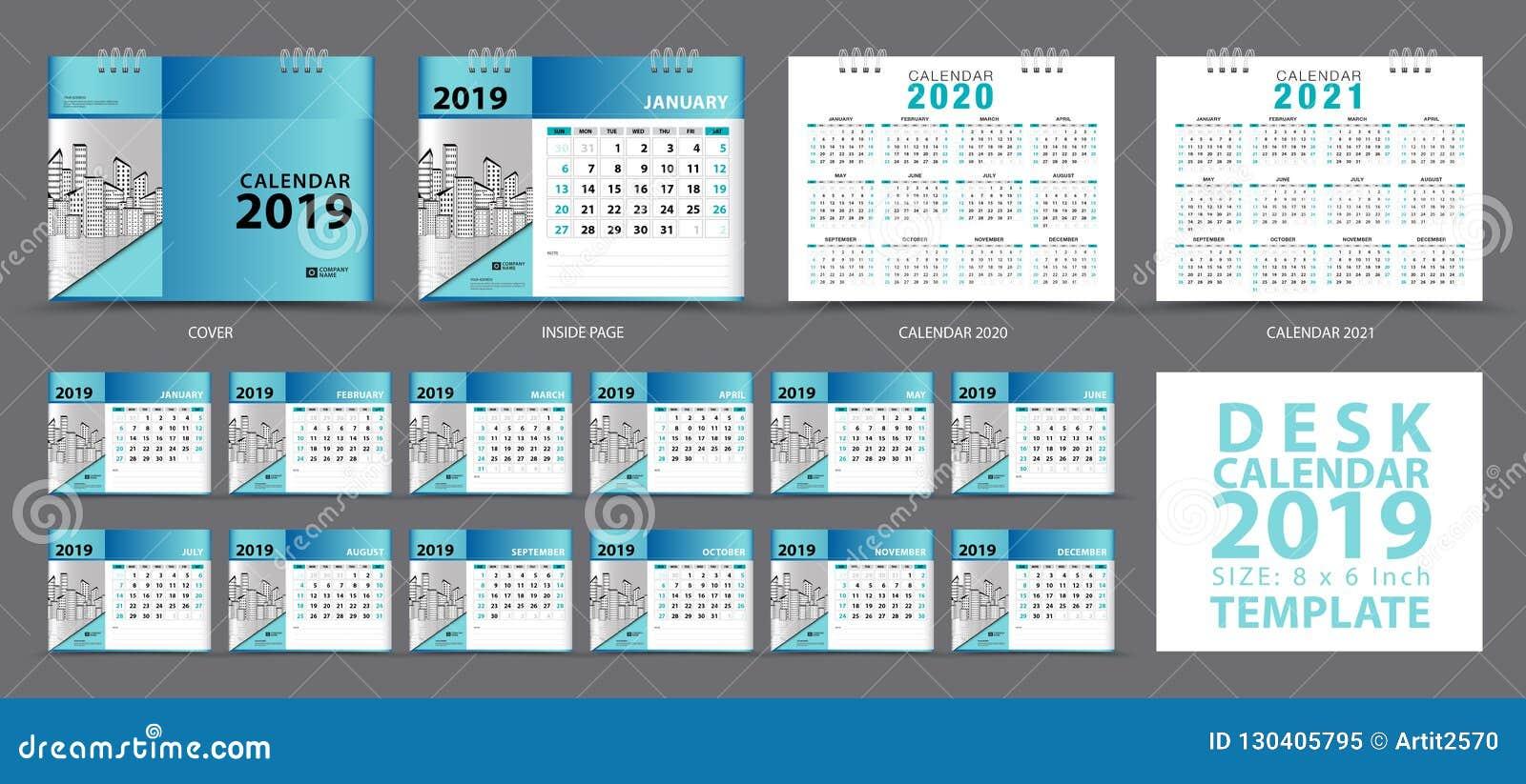 Set Desk Calendar 2019 Template Set Of 12 Months Calendar 2019