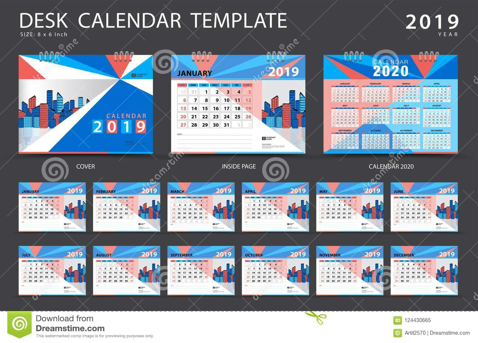 set desk calendar 2019 template set of 12 months planner week